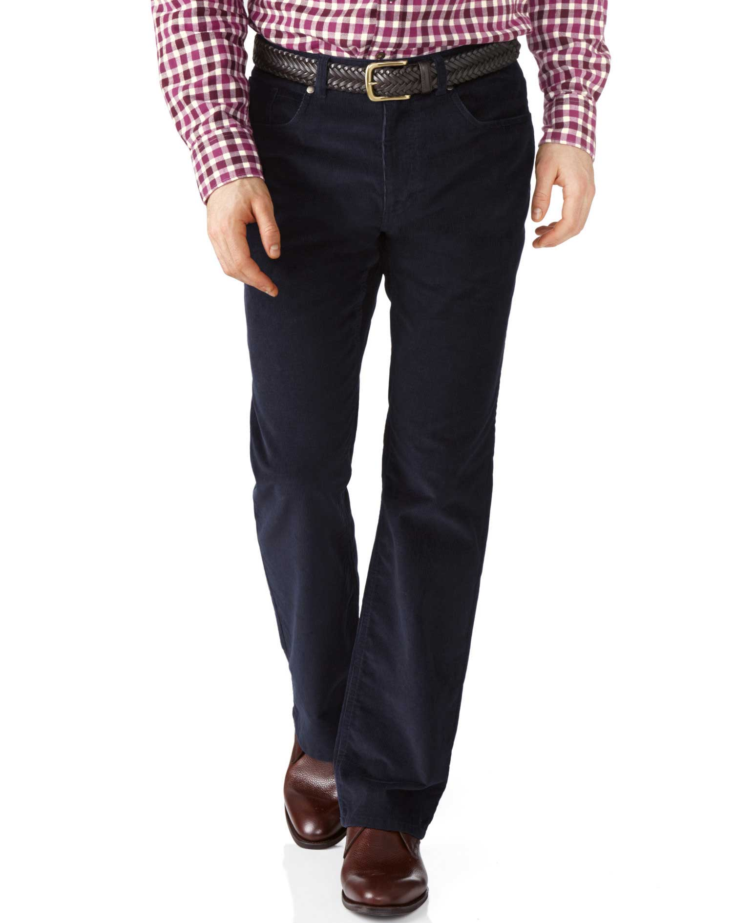 Dark Navy Classic Fit Stretch 5 Pocket Needle Cord Trouser Size W42 L32 by Charles Tyrwhitt