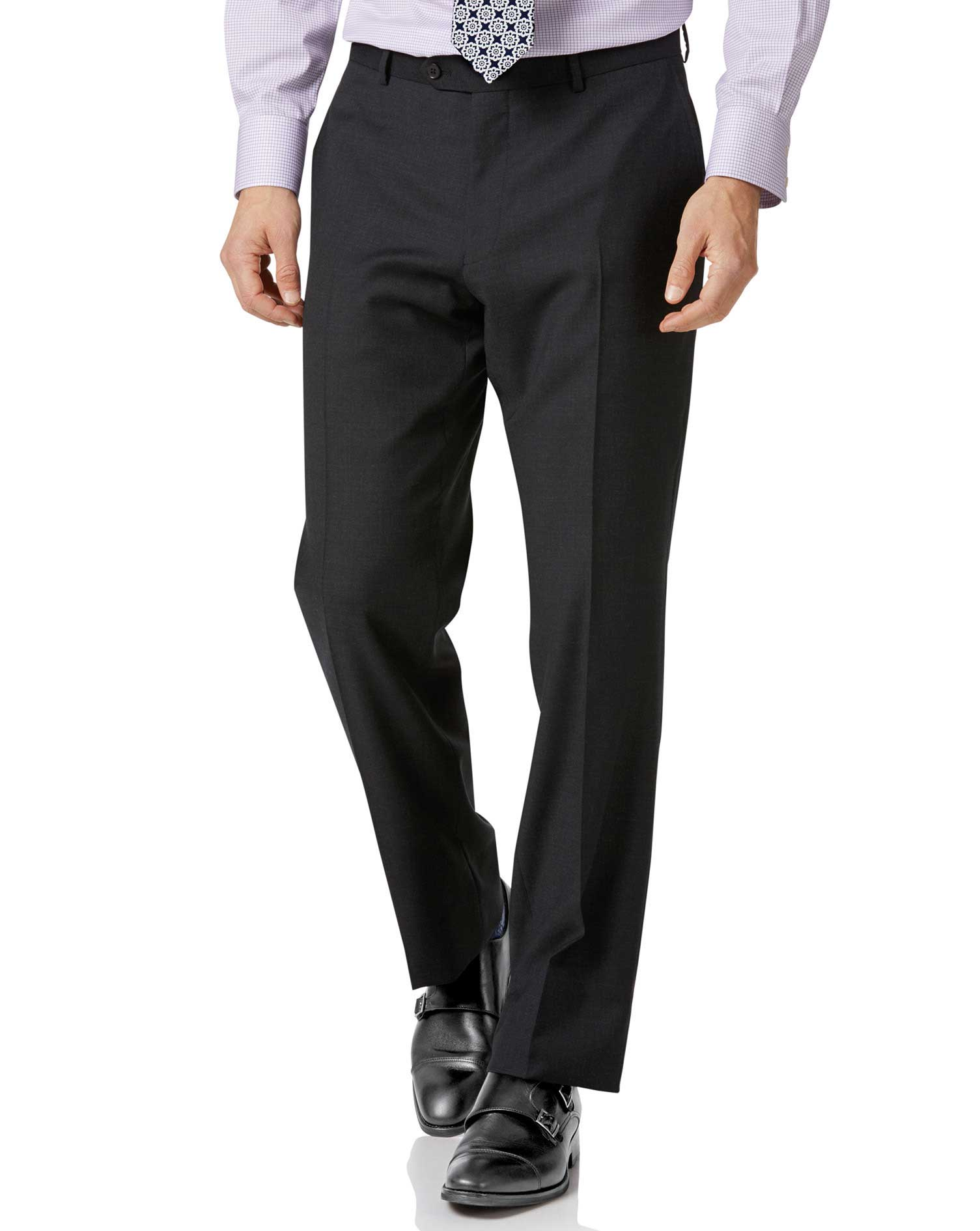 Charcoal Classic Fit Twill Business Suit Trousers Size W46 L38 by Charles Tyrwhitt