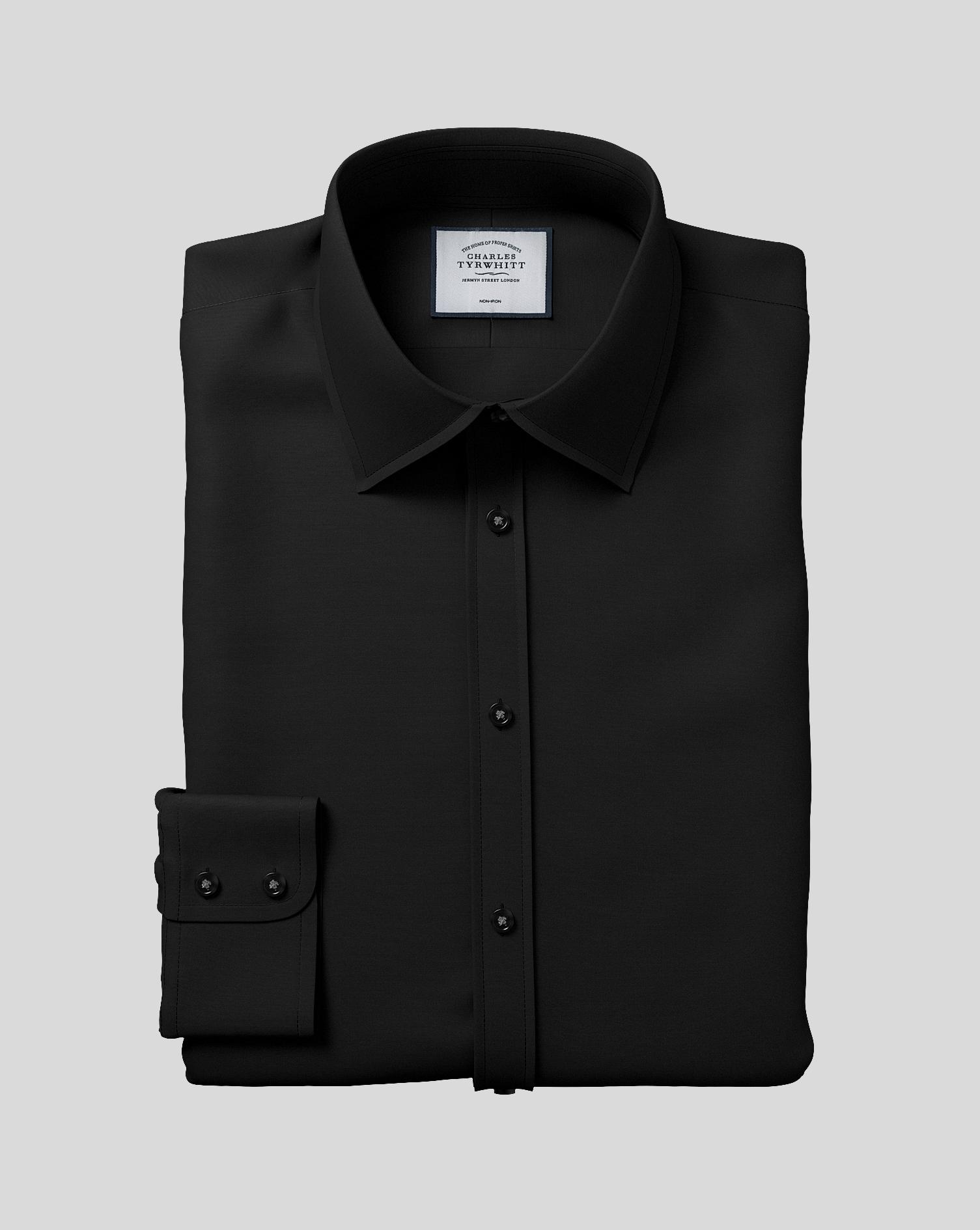 Classic fit non iron poplin black shirt charles tyrwhitt for Best no iron shirts