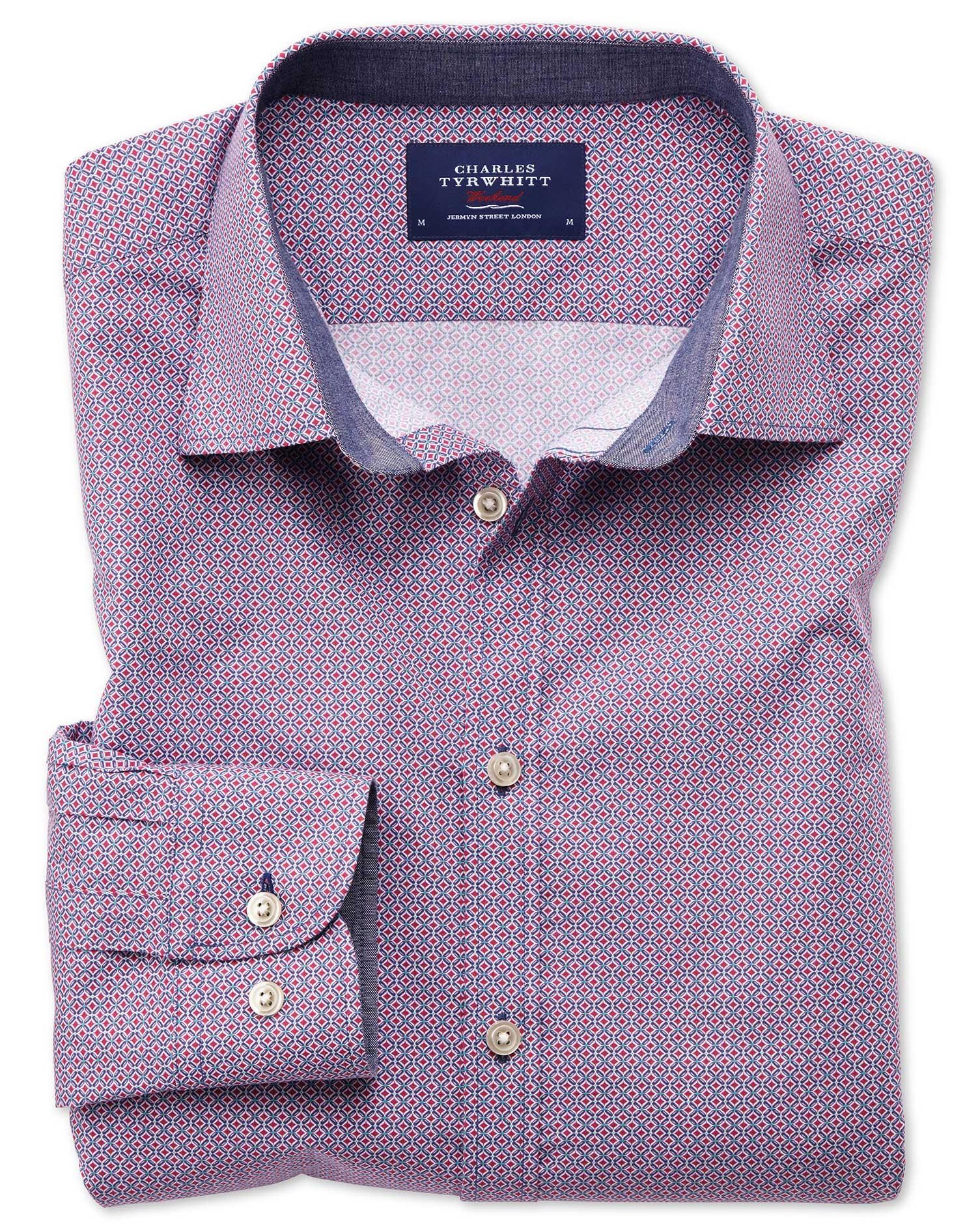 Extra Slim Fit Magenta And Blue Print Shirt Charles Tyrwhitt