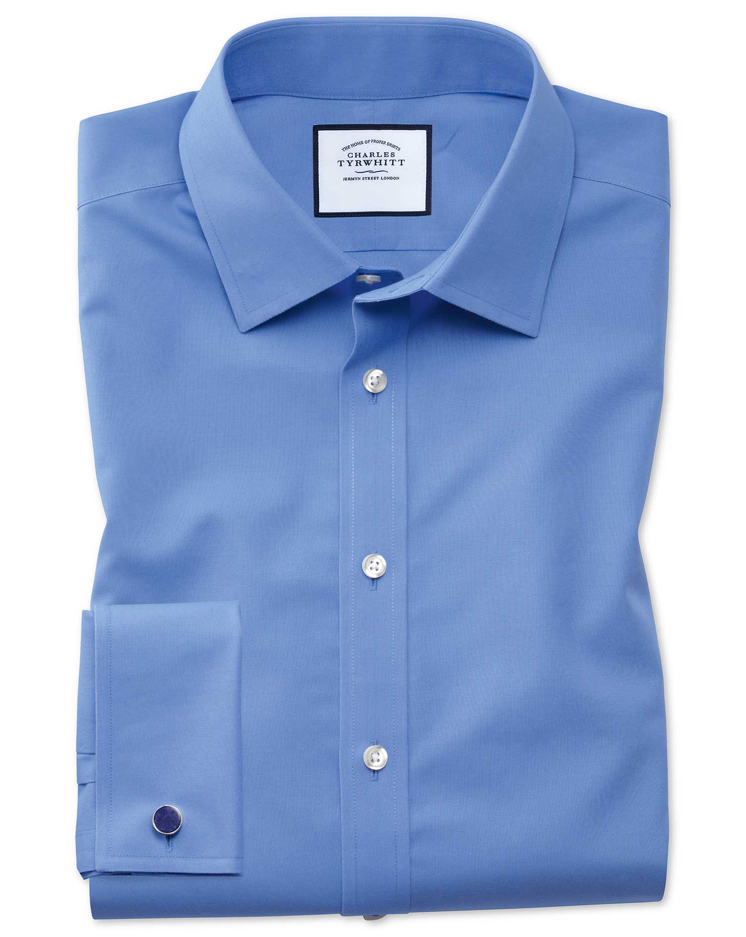 Slim Fit Non-Iron Poplin Blue Cotton Formal Shirt Single Cuff Size 18/37 by Charles Tyrwhitt
