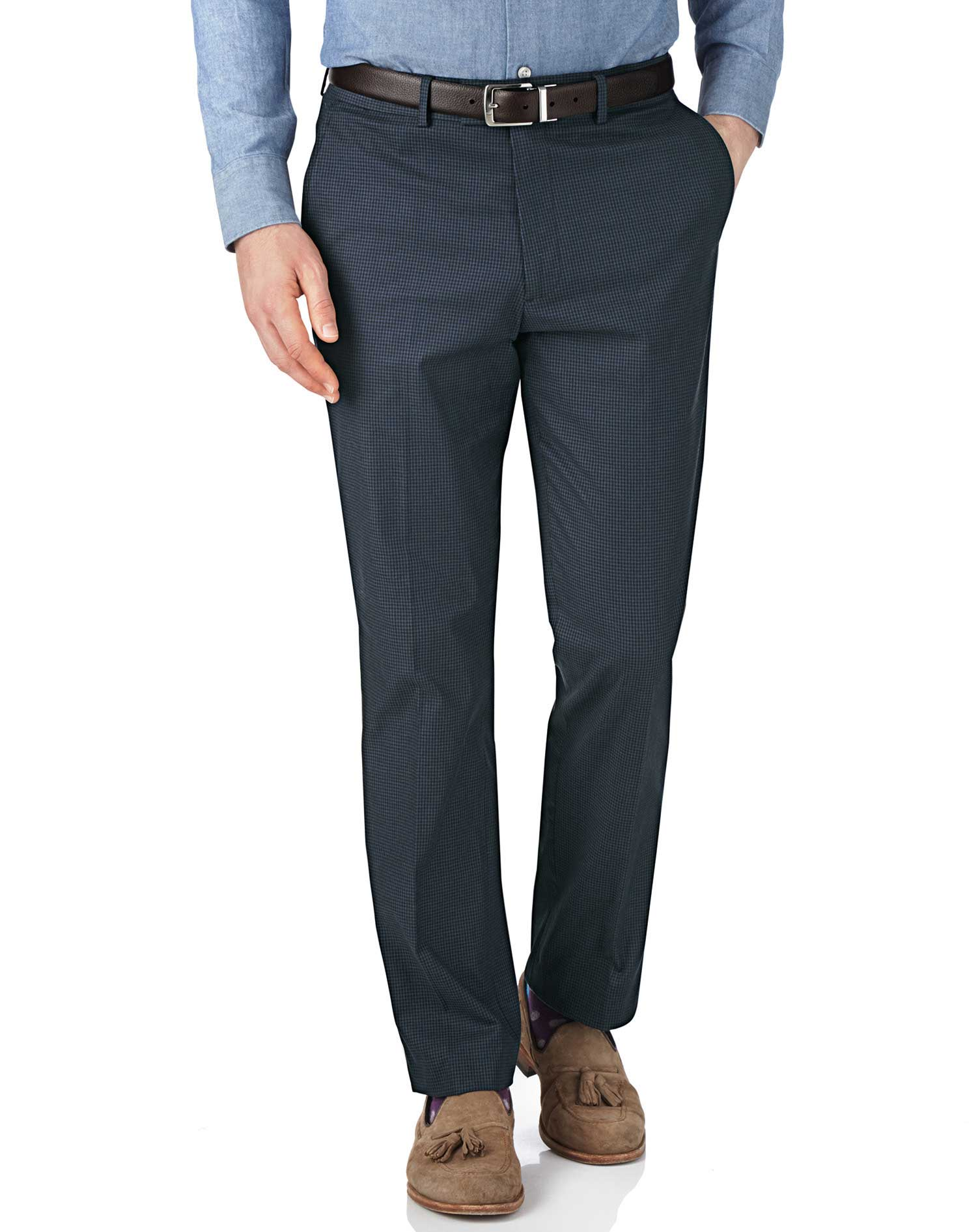 Navy and Blue Slim Fit Puppytooth Trousers Size W36 L32 by Charles Tyrwhitt