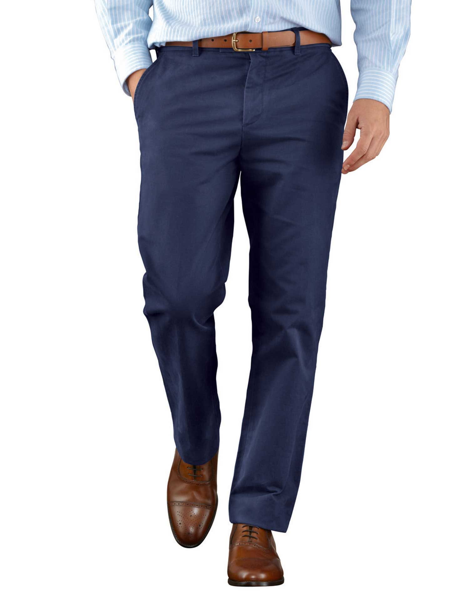 Blue Slim Fit Flat Front Weekend Cotton Chino Trousers Size W38 L32 by Charles Tyrwhitt