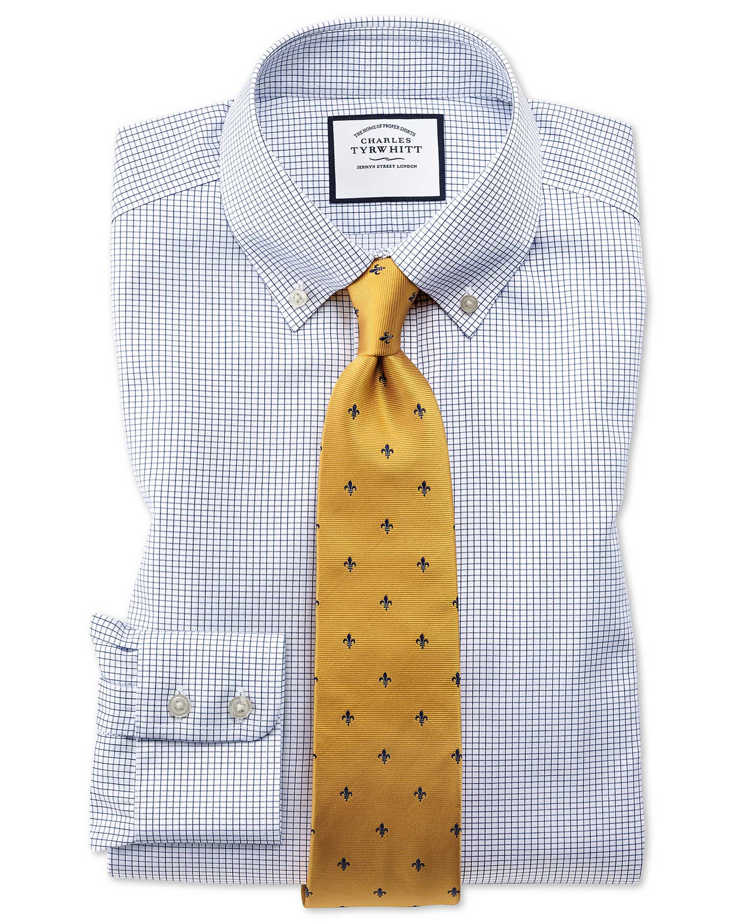 Slim Fit Button-Down Non-Iron Twill Mini Grid Check Navy Blue Cotton Formal Shirt Single Cuff Size 1