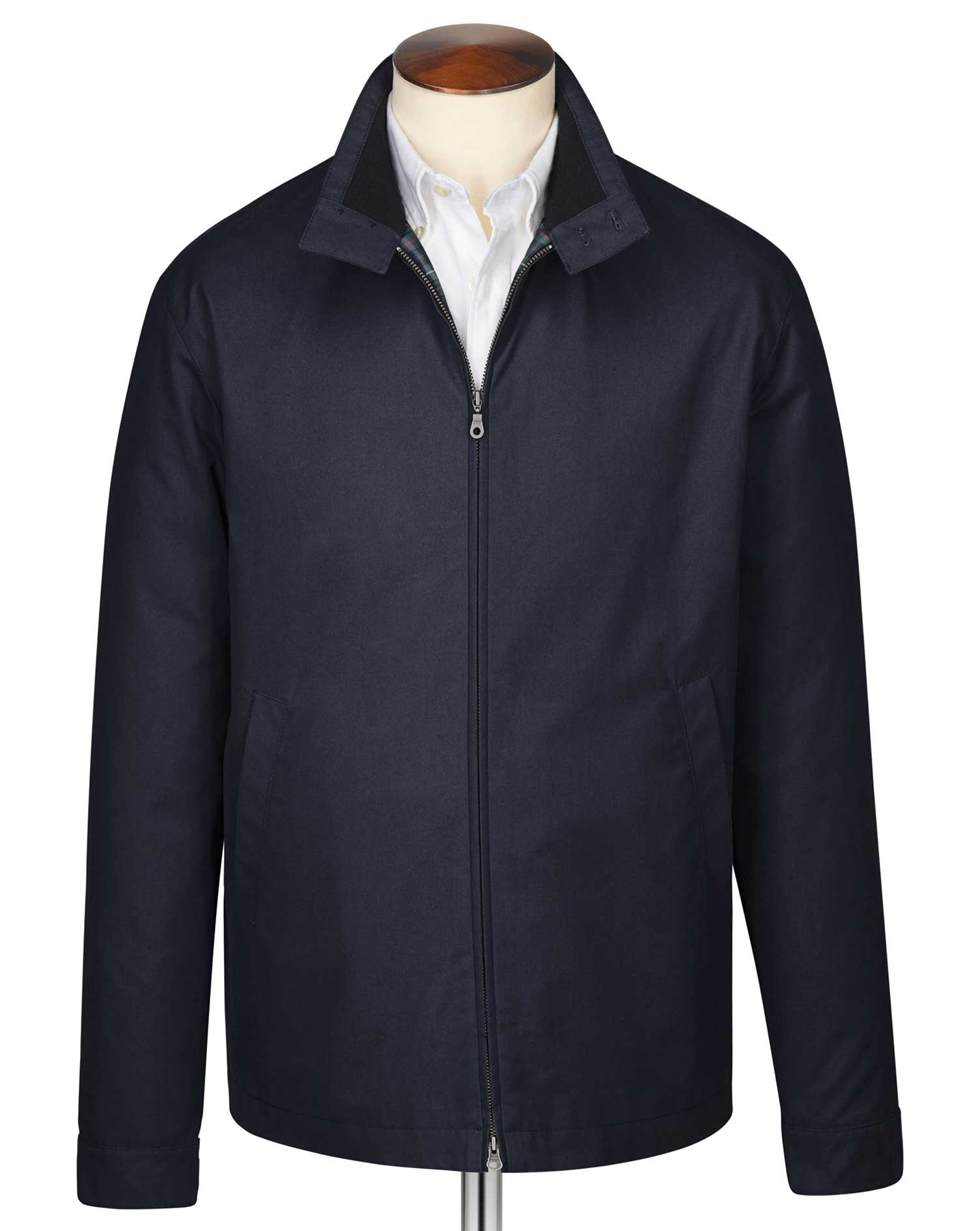 Navy Harrington Cotton Jacket Size 42 Regular by Charles Tyrwhitt