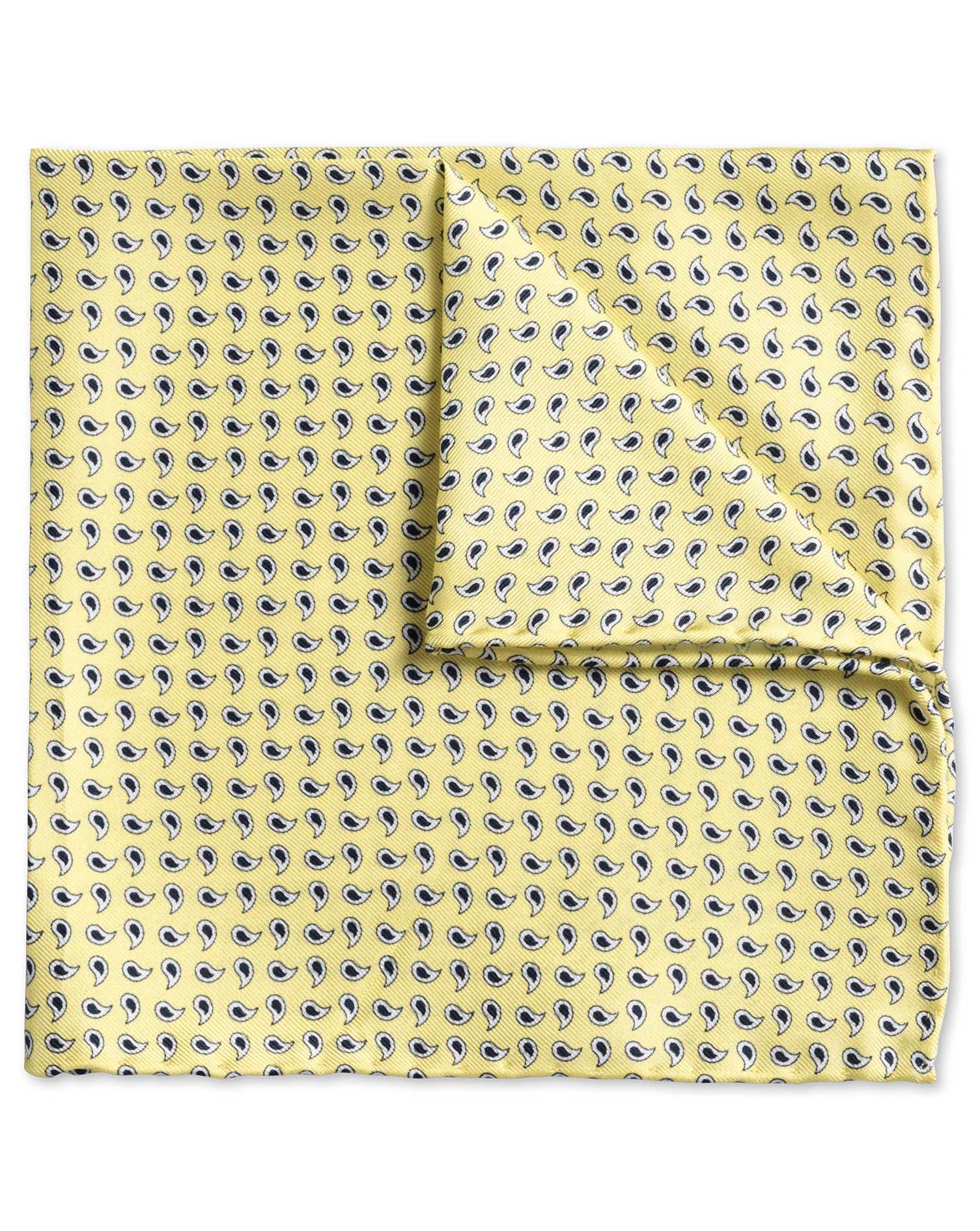 Gold Paisley Classic Silk Pocket Square Size OSFA by Charles Tyrwhitt