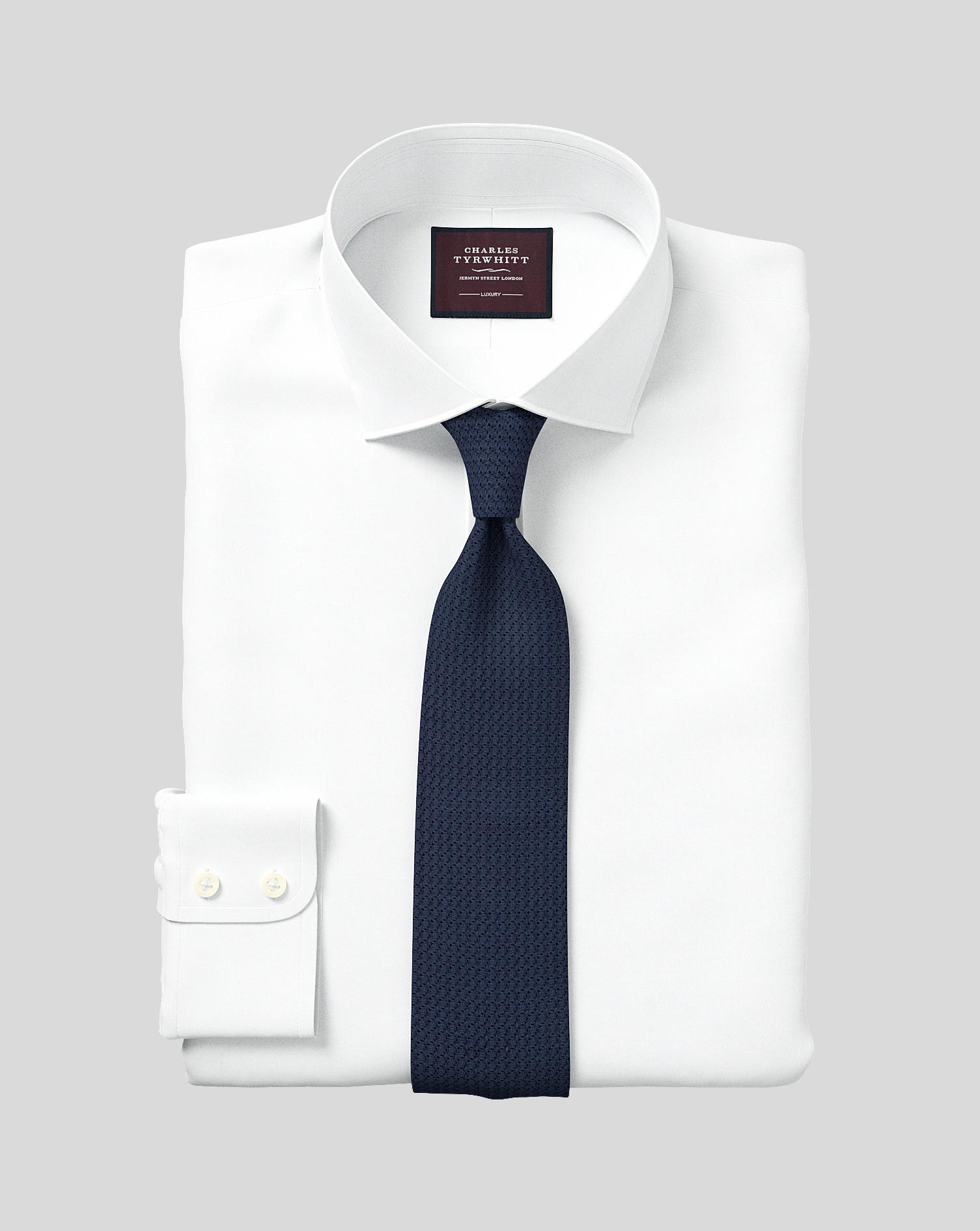 Classic fit semi spread collar luxury twill white shirt for Semi spread collar shirt