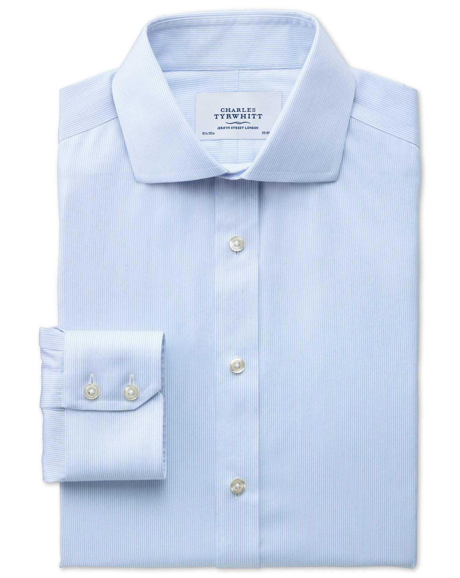 Slim Fit Cutaway Collar Non-Iron Mouline Stripe Sky Blue Cotton Formal Shirt Single Cuff Size 16/38
