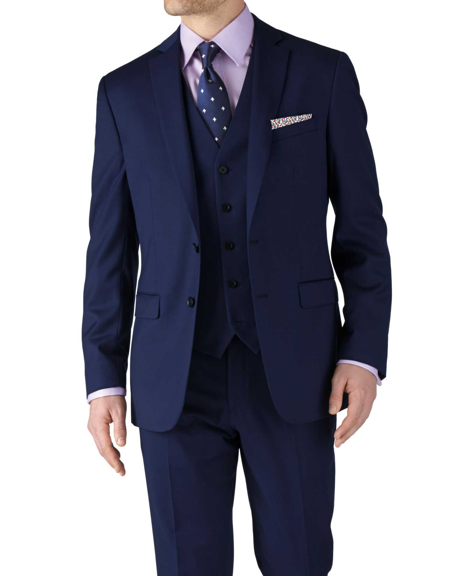 Royal Blue Classic Fit Twill Business Suit Wool Jacket Size 42 Regular by Charles Tyrwhitt