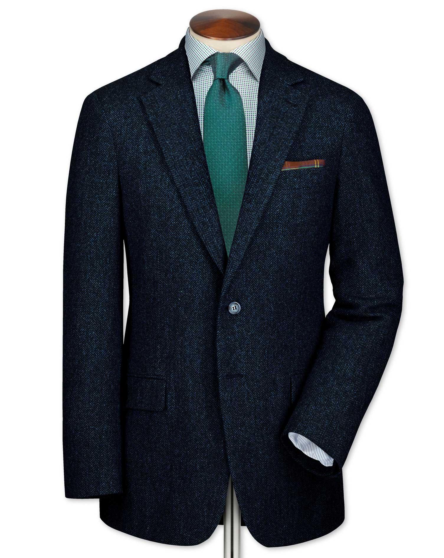 Slim fit blue tweed jacket | Charles Tyrwhitt