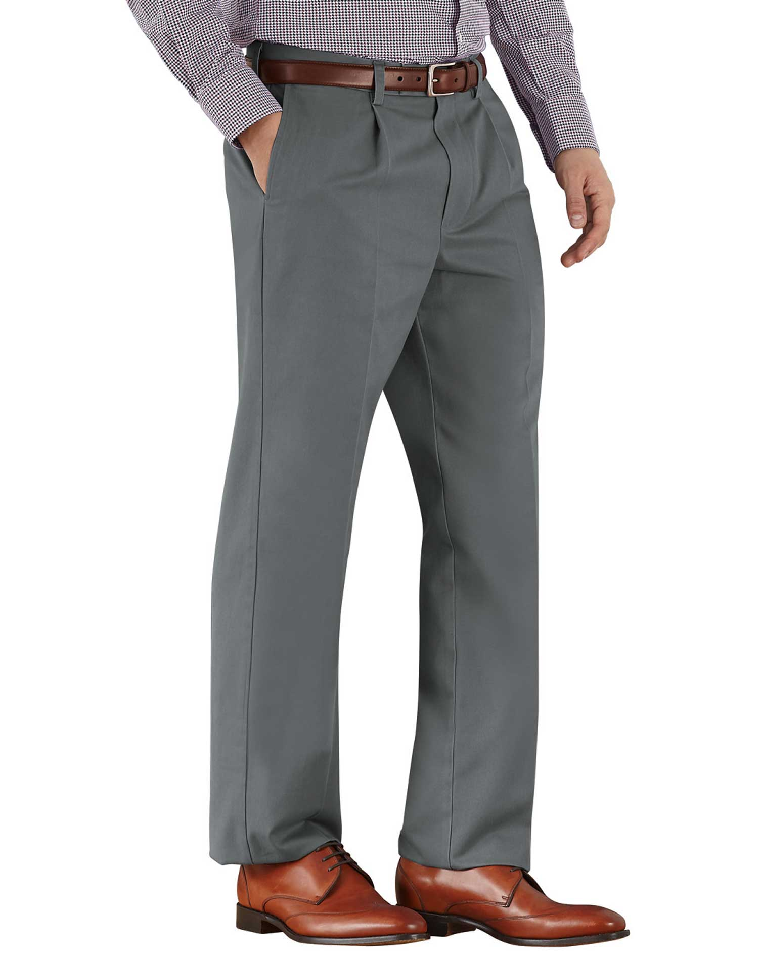 Grey Classic Fit Single Pleat Non-Iron Cotton Chino Trousers Size W34 L32 by Charles Tyrwhitt