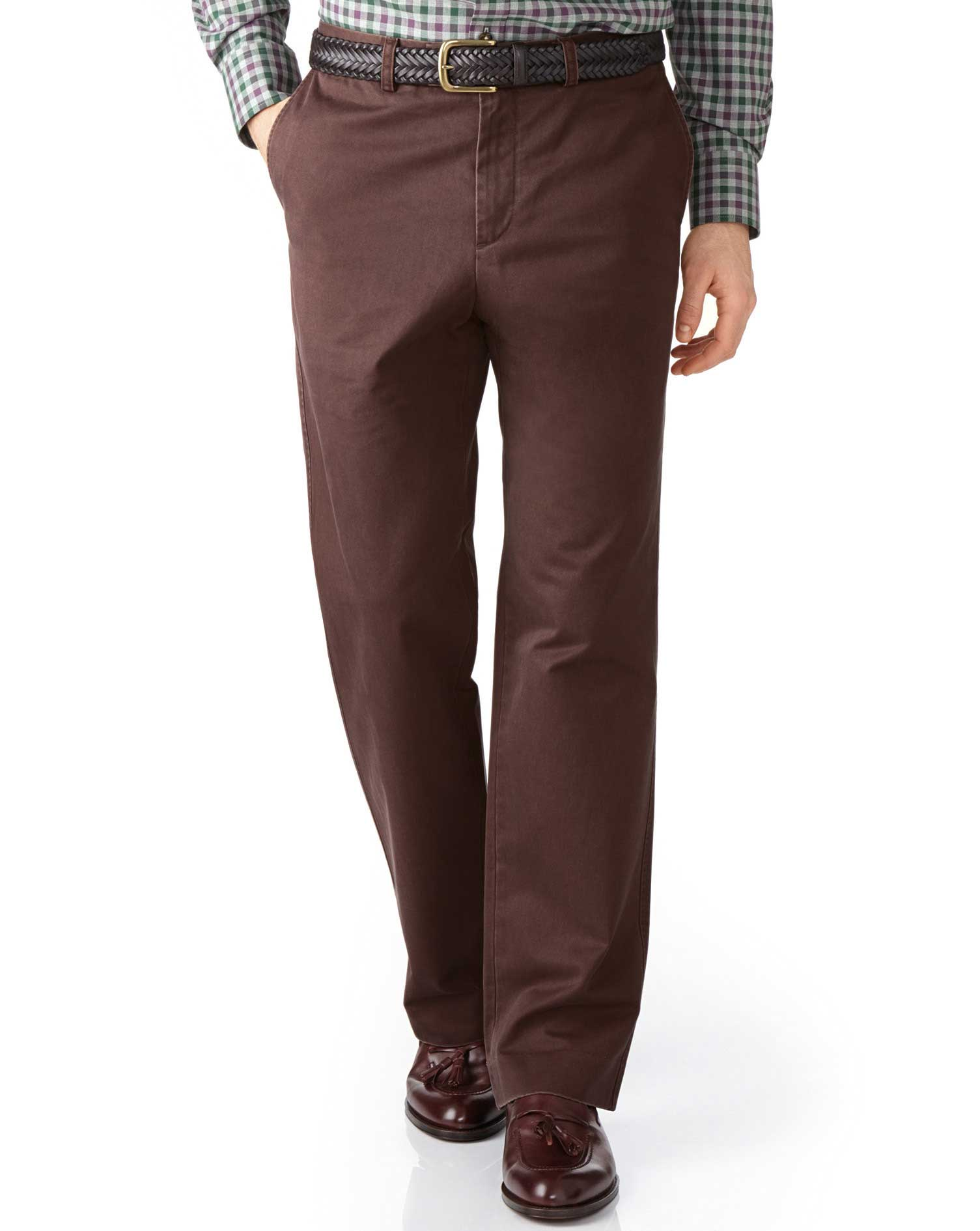 Brown Classic Fit Flat Front Cotton Chino Trousers Size W44 L38 by Charles Tyrwhitt