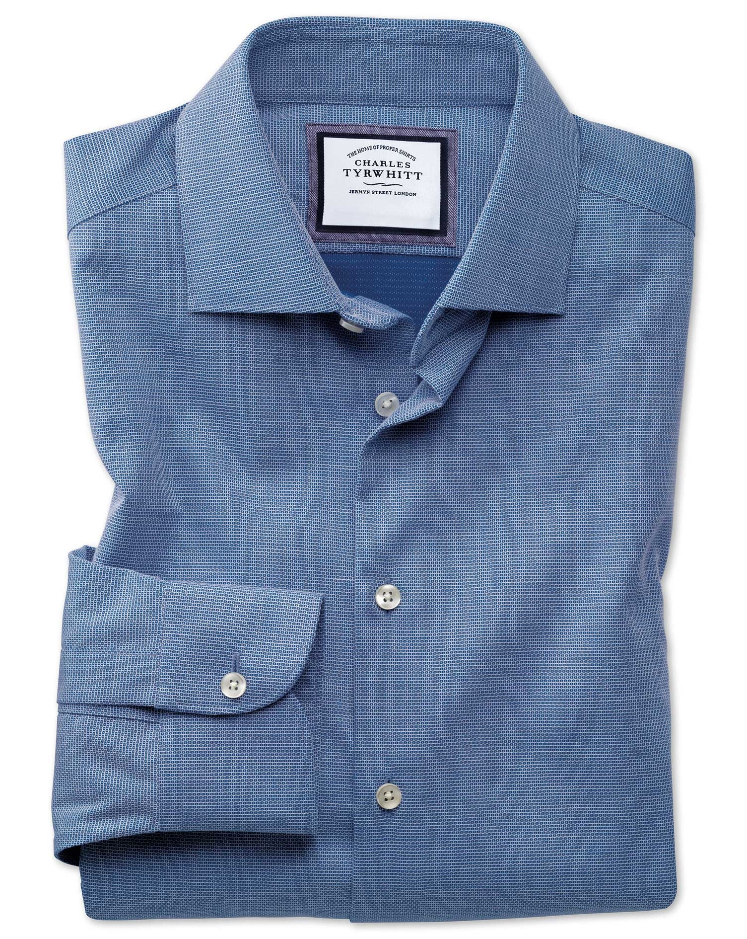 Slim Fit Business Casual Non-Iron Modern Textures Royal Blue Cotton Formal Shirt Single Cuff Size 17