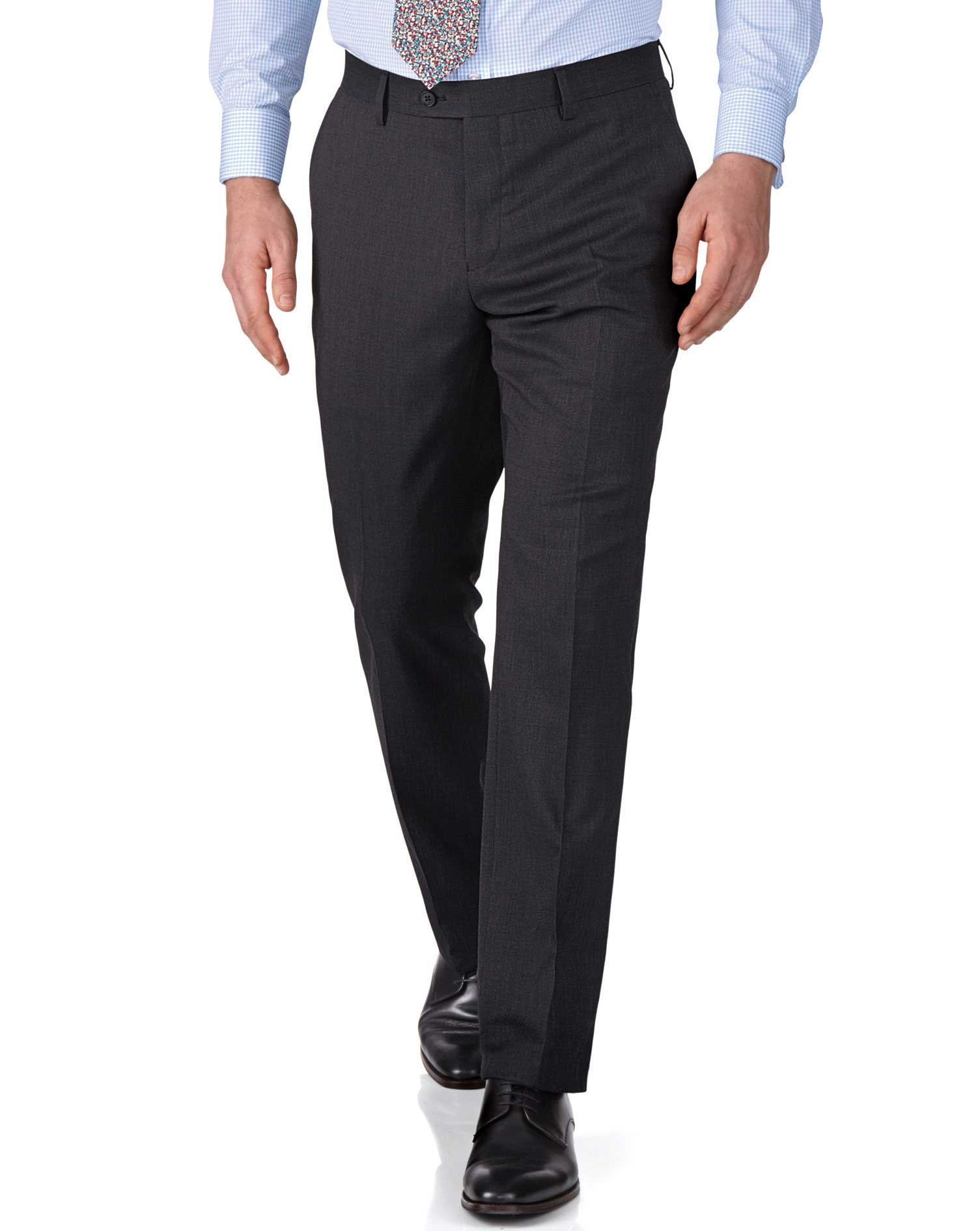 Charcoal Slim Fit End-On-End Business Suit Trousers Size W38 L32 by Charles Tyrwhitt