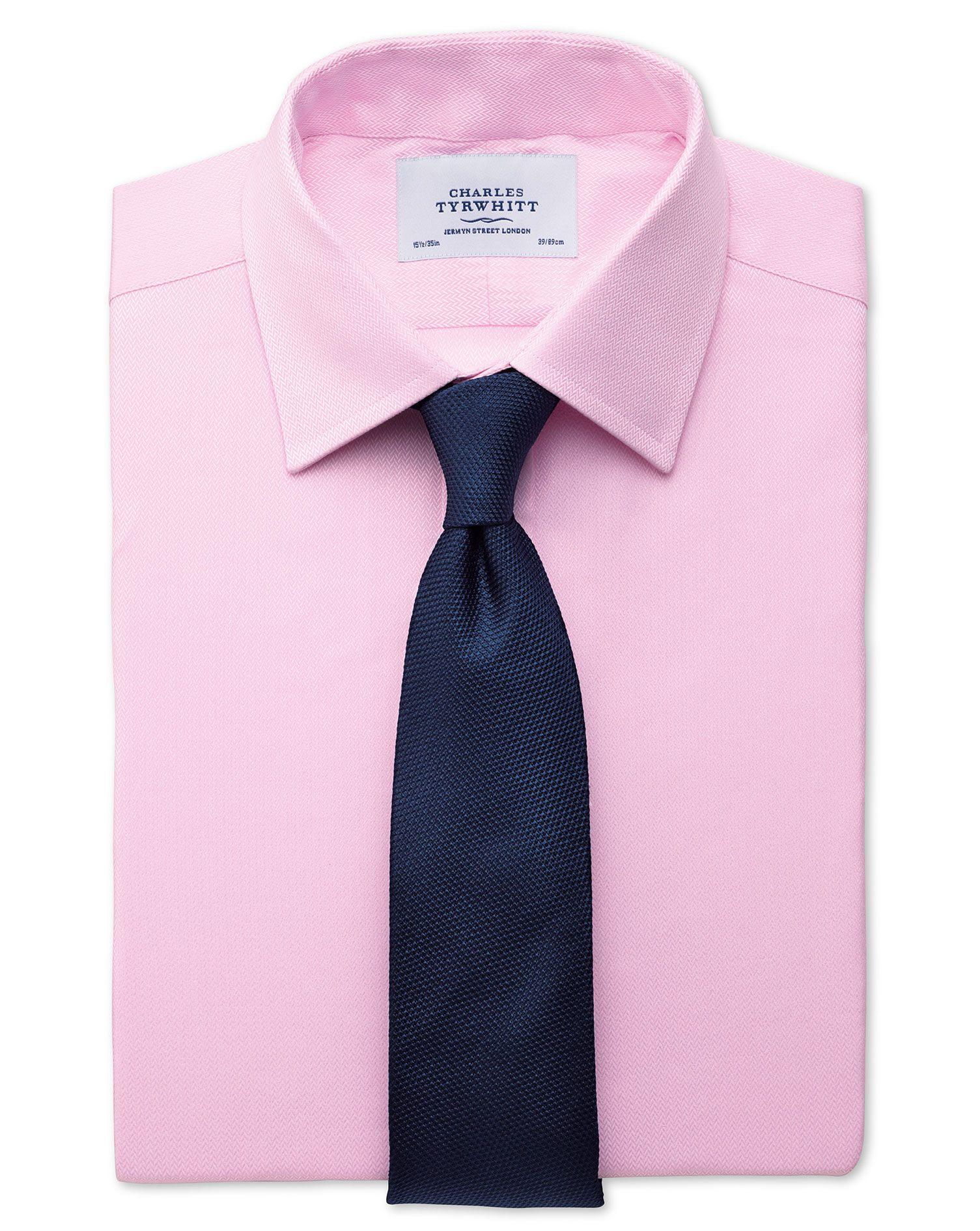 Slim Fit Small Herringbone Pink Cotton Formal Shirt Single Cuff Size 15/34 by Charles Tyrwhitt