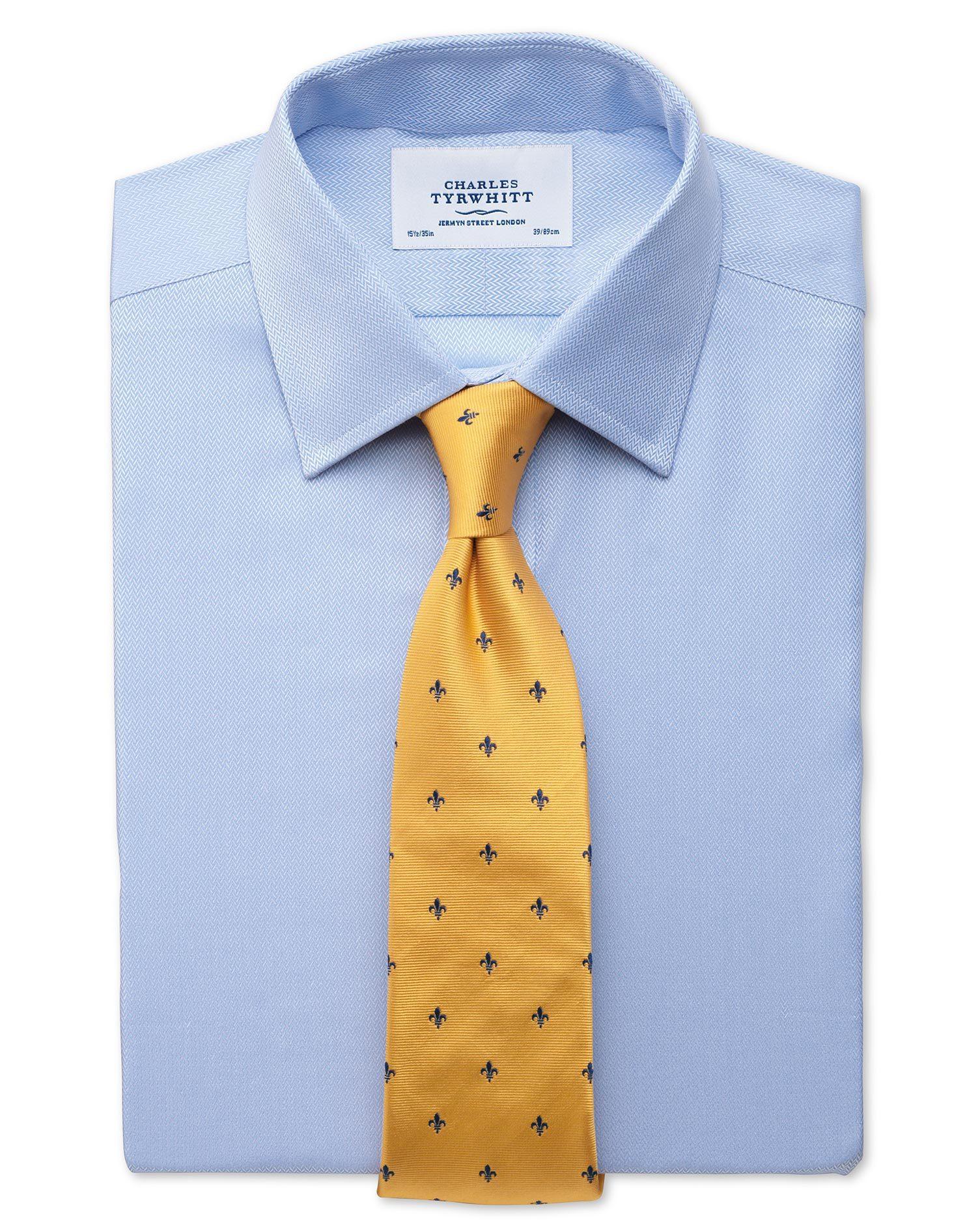 Slim Fit Small Herringbone Sky Cotton Formal Shirt Single Cuff Size 16.5/35 by Charles Tyrwhitt