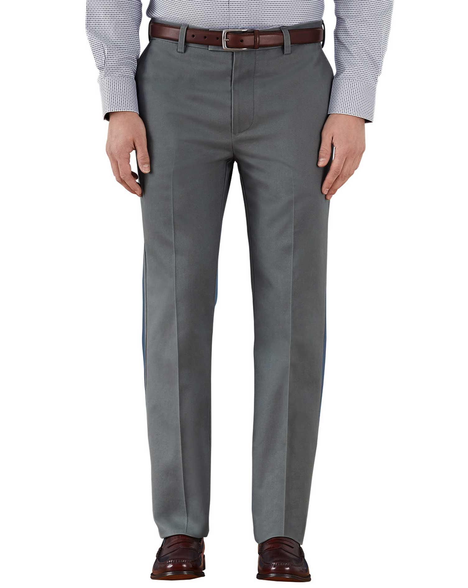 Grey Slim Fit Flat Front Non-Iron Cotton Chino Trousers Size W42 L29 by Charles Tyrwhitt