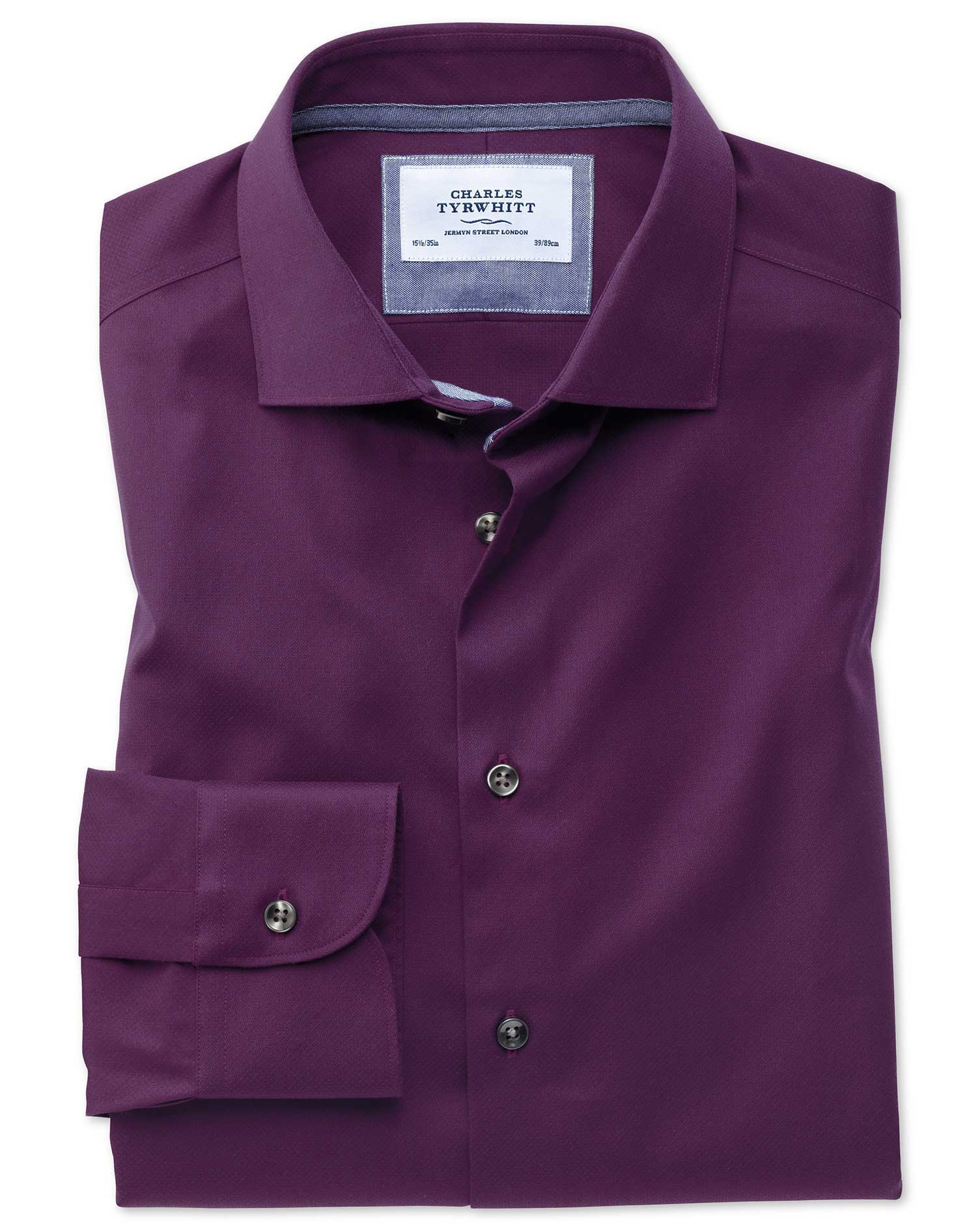 Slim Fit Semi-Cutaway Business Casual Non-Iron Modern Textures Dark Purple Cotton Formal Shirt Singl