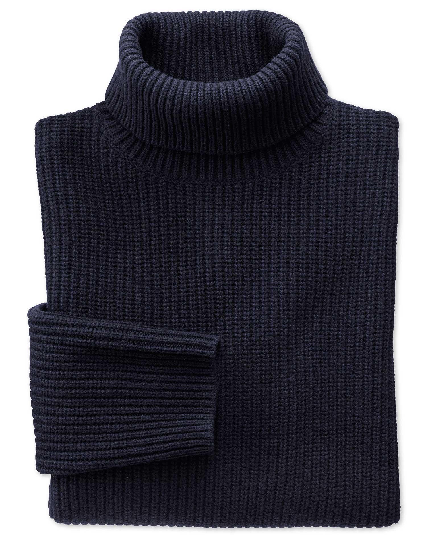 Navy Rib Roll Neck Wool Jumper Size XXXL by Charles Tyrwhitt