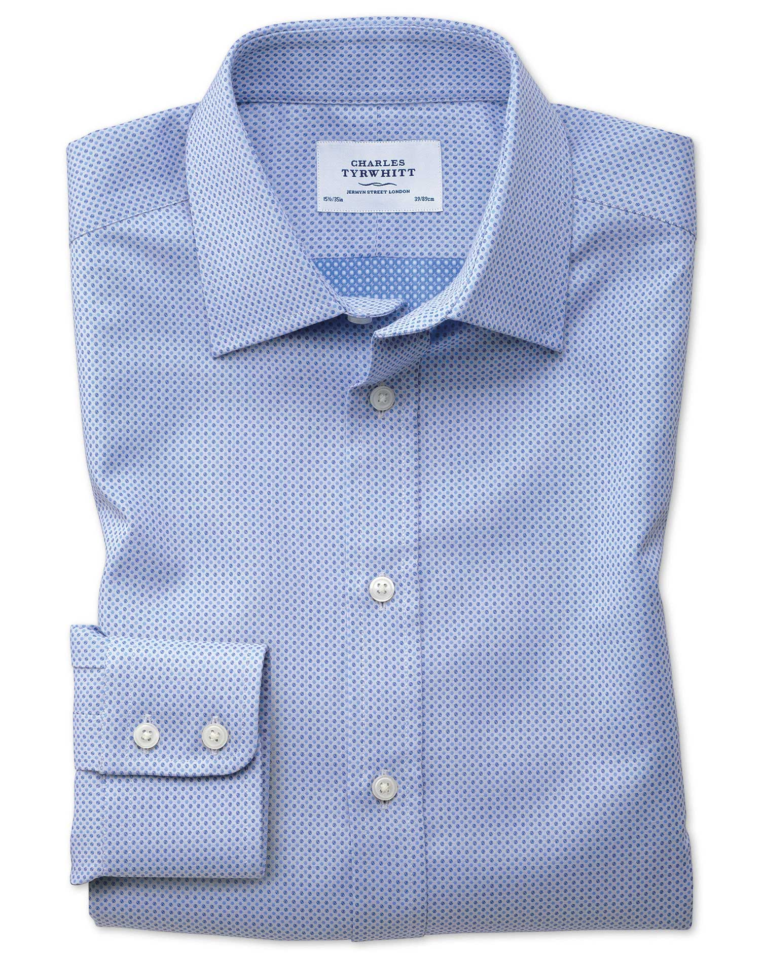 Slim Fit Egyptian Cotton Spot Weave Sky Blue Formal Shirt Single Cuff Size 16/35 by Charles Tyrwhitt