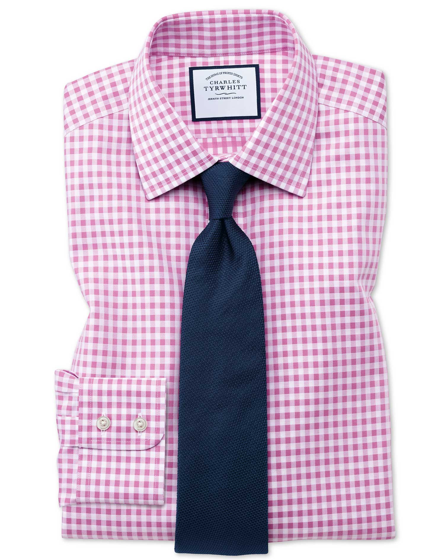 Classic Fit Non Iron Gingham Pink Cotton Formal Shirt Single Cuff Size 17/37 by Charles Tyrwhitt