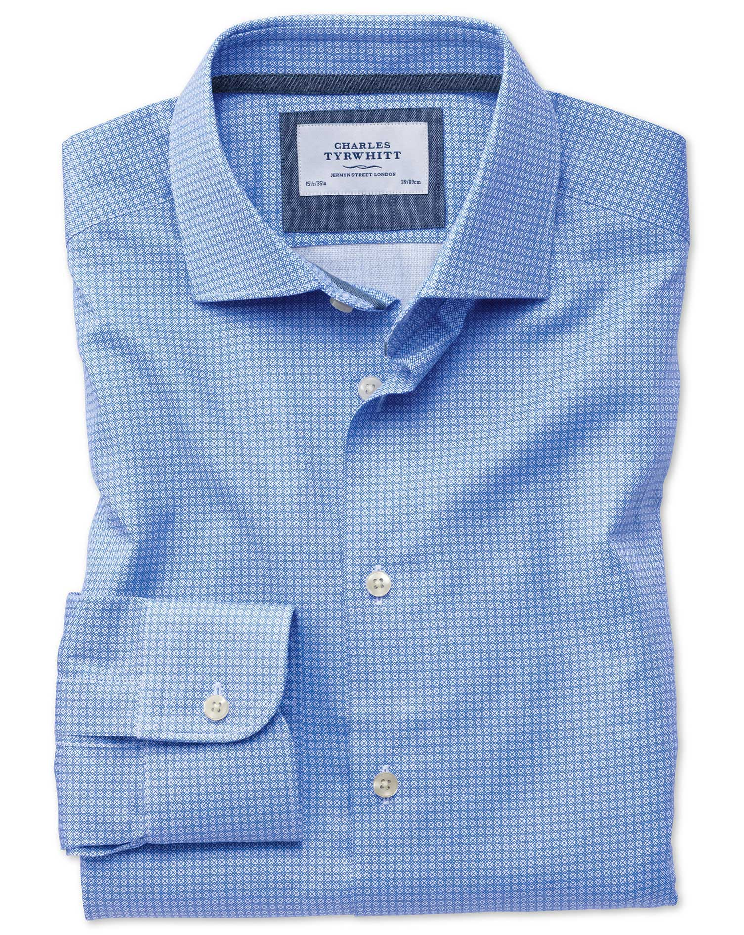 Classic Fit Semi-Cutaway Business Casual Geometric Print Mid Blue Egyptian Cotton Formal Shirt Singl