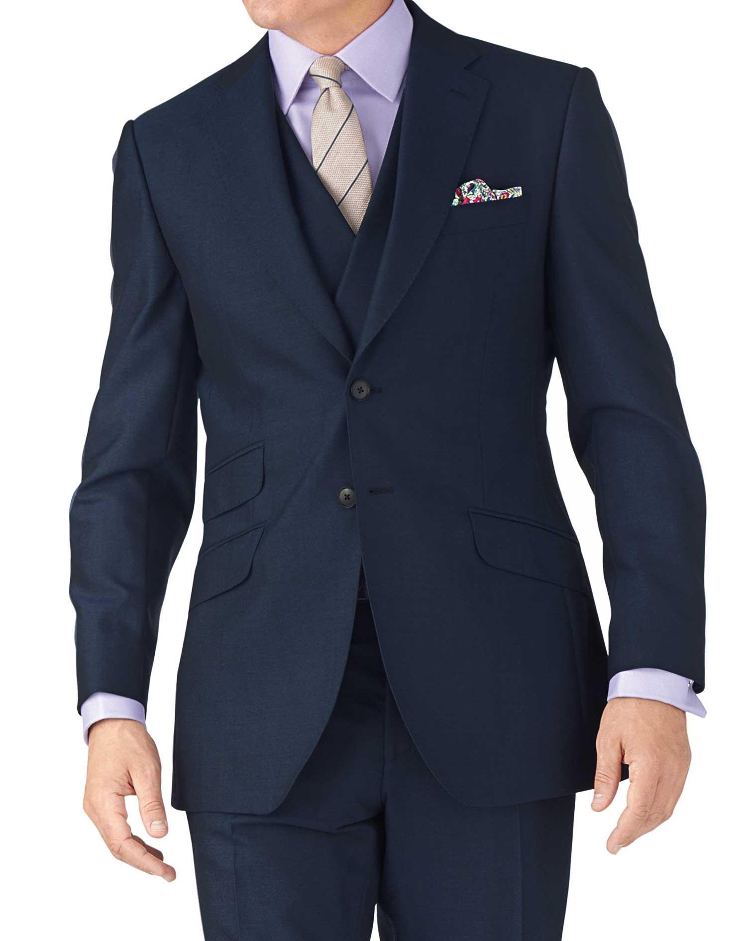 Blue Slim Fit British Panama Luxury Suit Wool Jacket Size 42 Regular by Charles Tyrwhitt