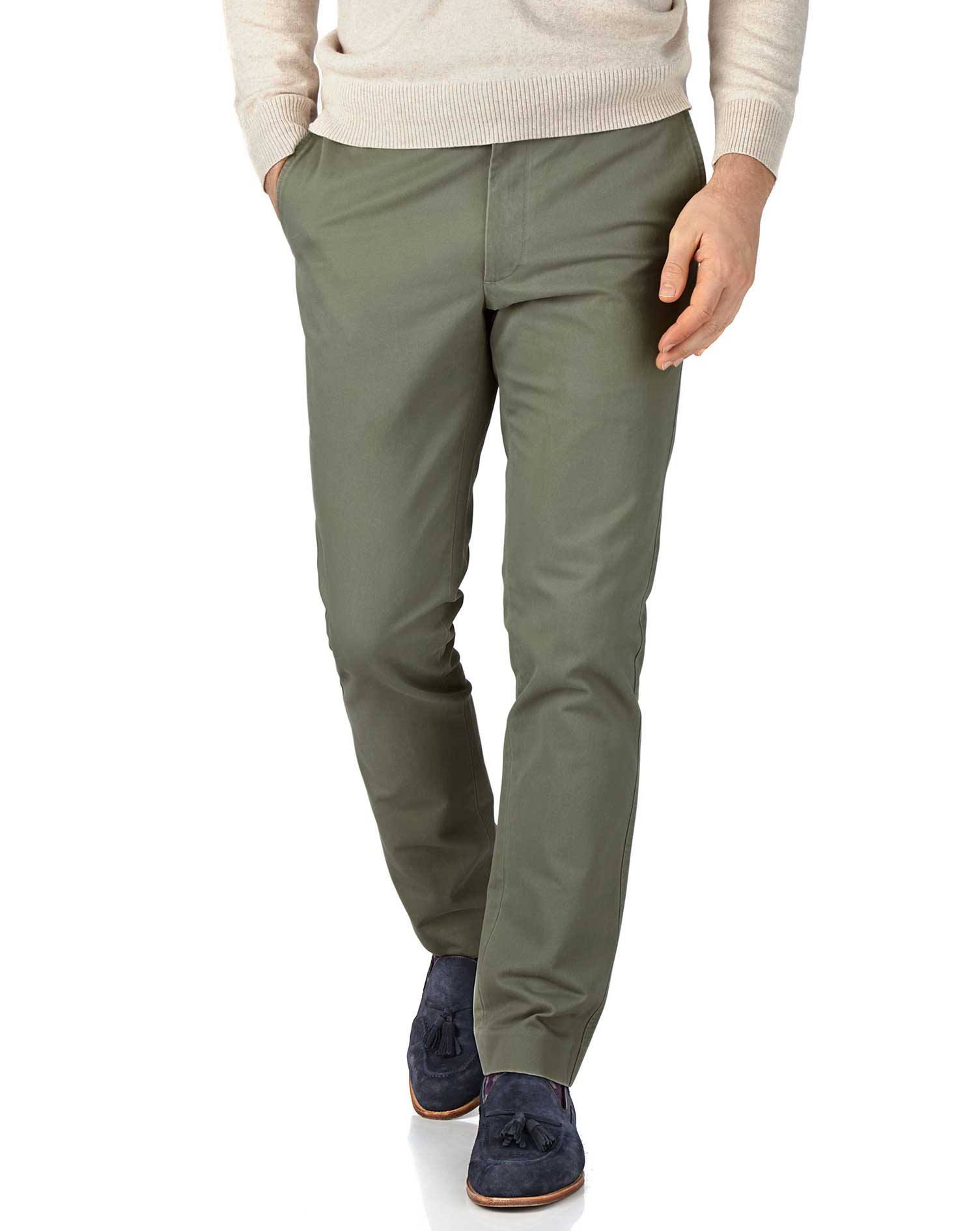 Light Green Extra Slim Fit Flat Front Cotton Chino Trousers Size W36 L38 by Charles Tyrwhitt