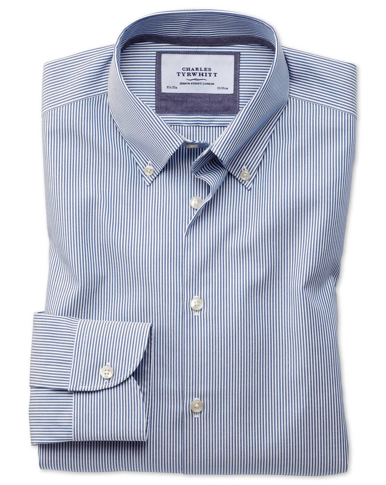 Slim Fit Button-Down Business Casual Non-Iron Blue Stripe Cotton Formal Shirt Single Cuff Size 15.5/