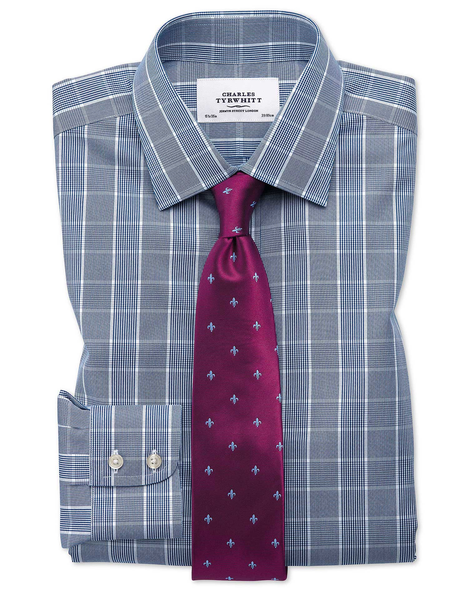Slim fit non iron prince of wales navy blue and white for Slim fit non iron shirts