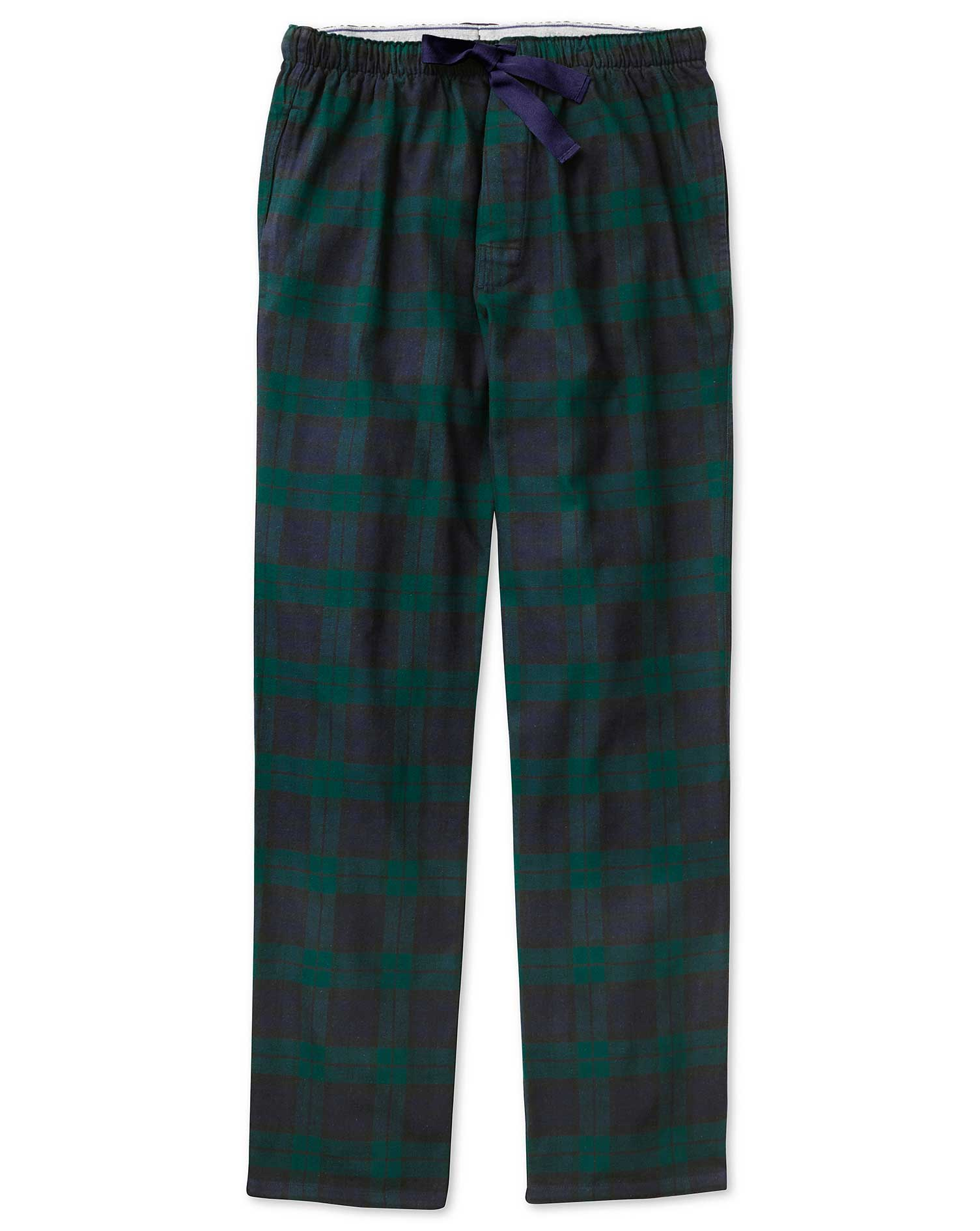 Navy and Green Check Brushed Cotton Pyjama Trousers Size XL by Charles Tyrwhitt