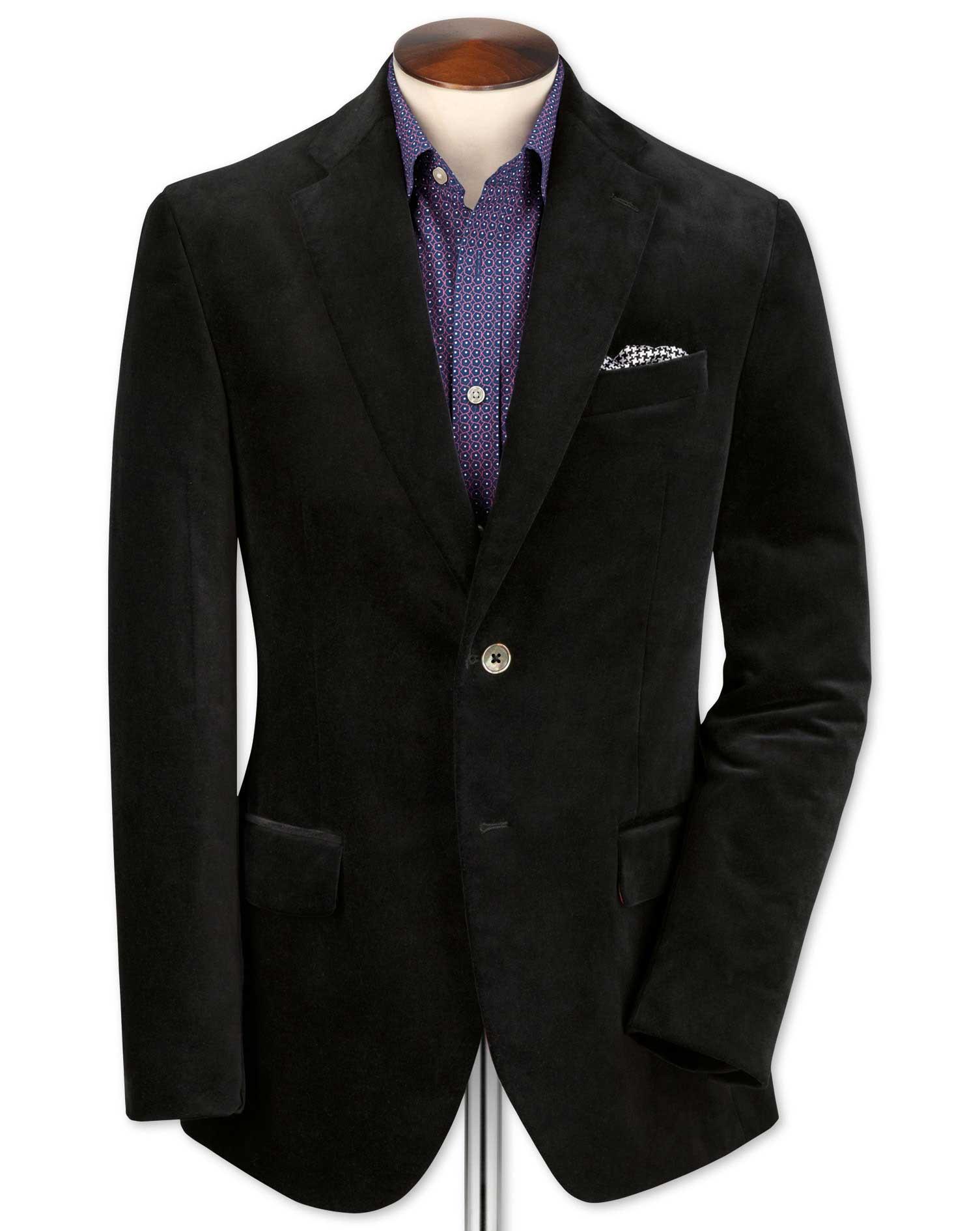 Slim Fit Black Velvet Cotton Jacket Size 36 Regular by Charles Tyrwhitt