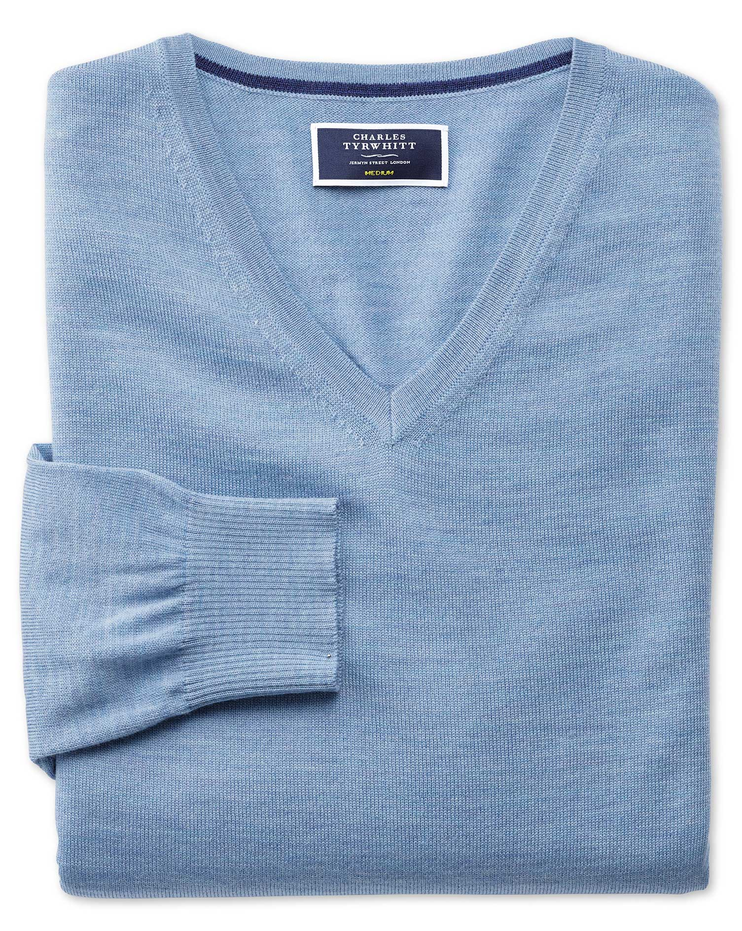 Sky Merino Wool V-Neck Jumper Size Large by Charles Tyrwhitt