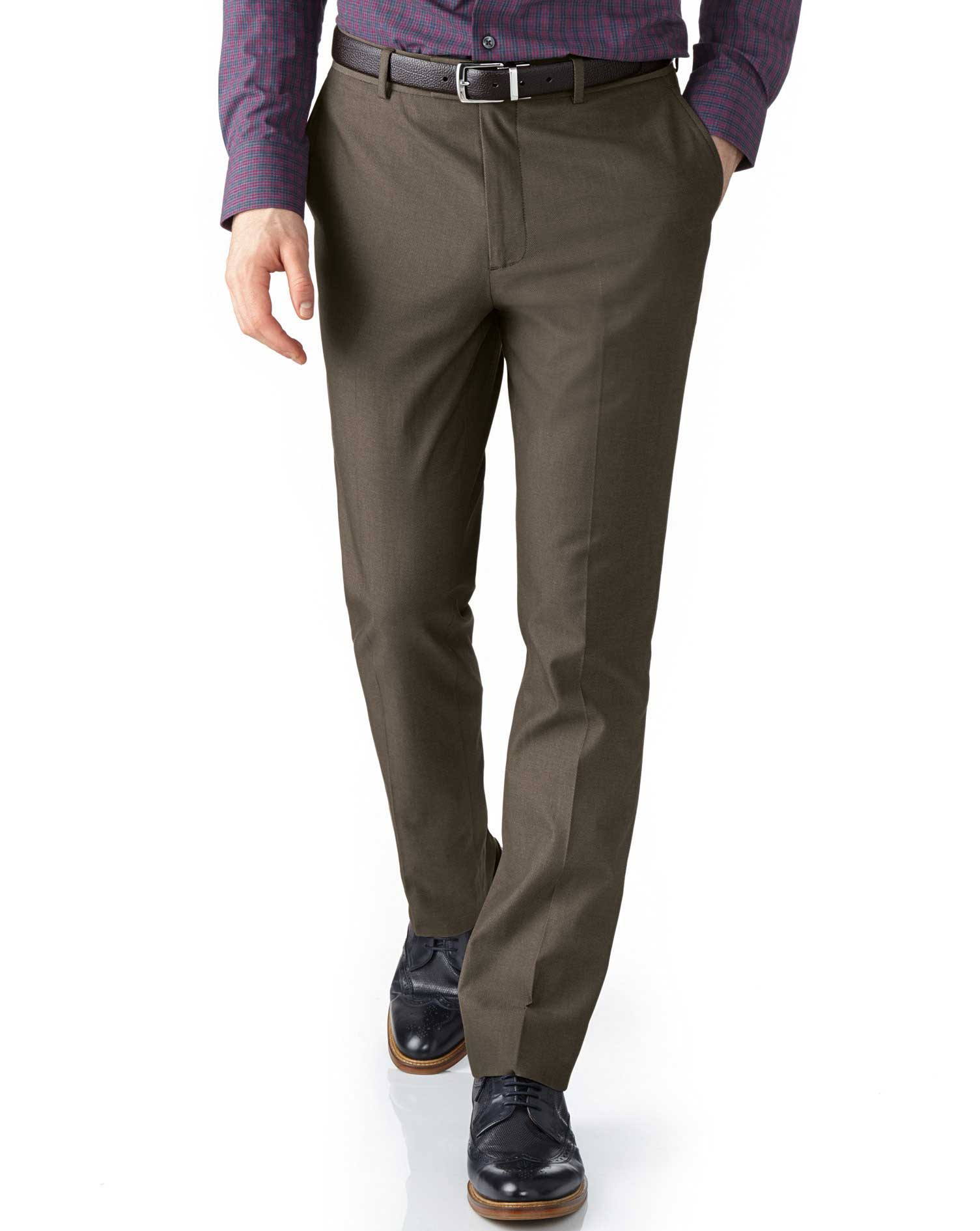 Brown Extra Slim Fit Stretch Cavalry Twill Cotton Chino Trousers Size W34 L32 by Charles Tyrwhitt