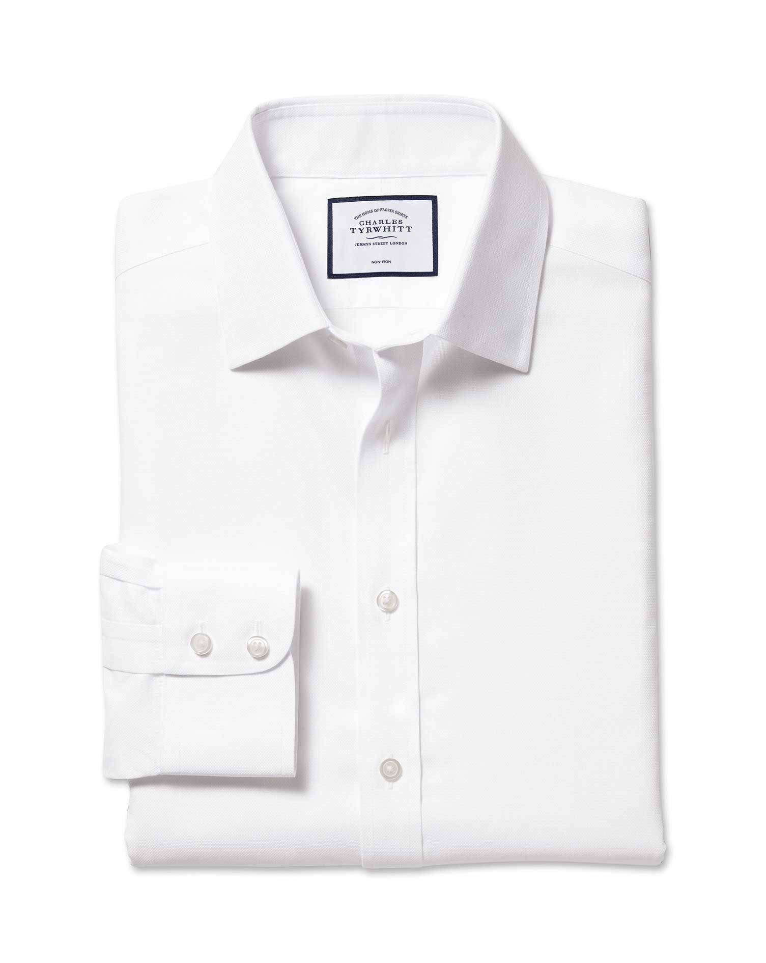 Extra Slim Fit Non-Iron Royal Panama White Cotton Formal Shirt Single Cuff Size 15/32 by Charles Tyr