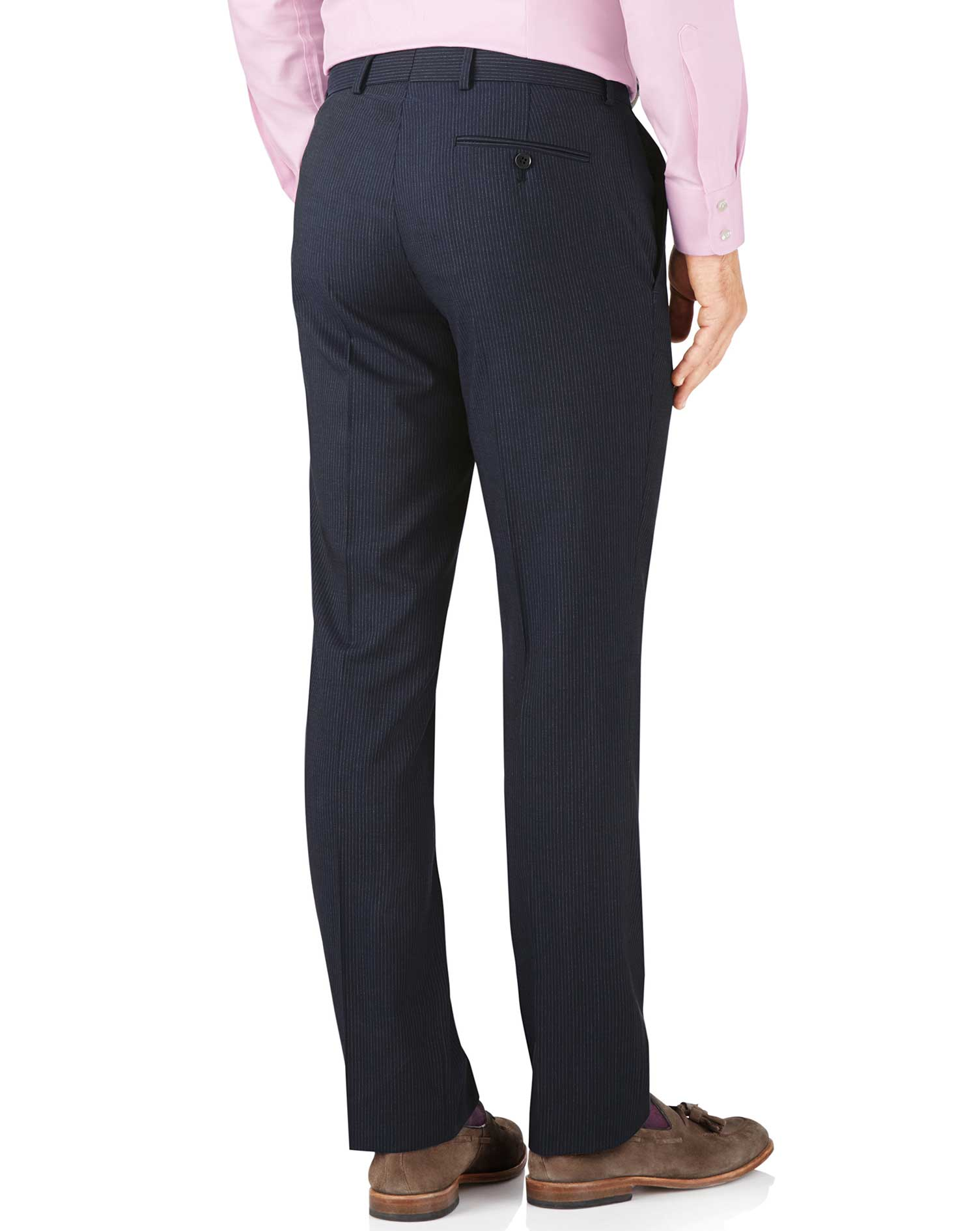 Navy stripe slim fit crepe business suit pants