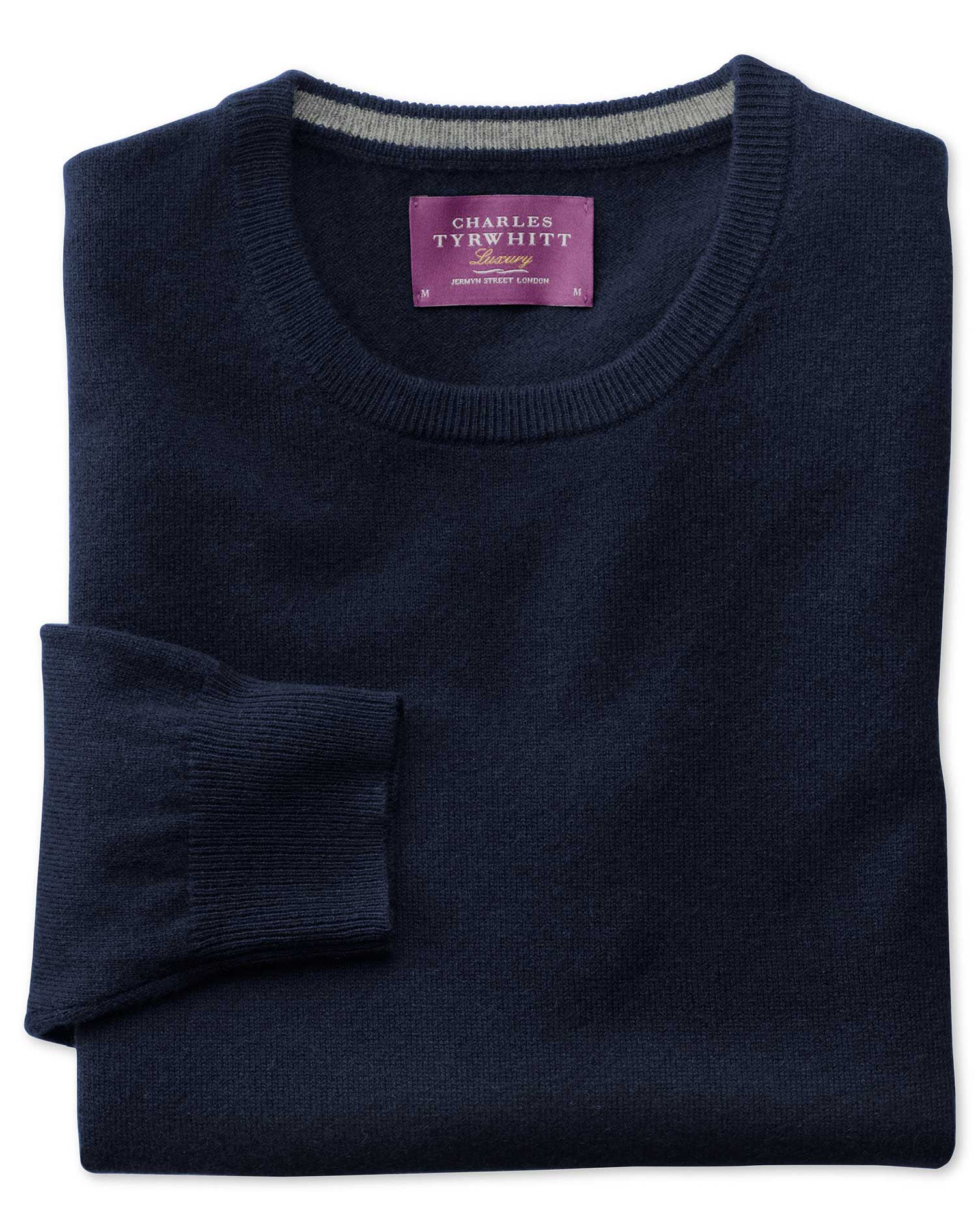 Navy Cashmere Crew Neck Jumper Size Small by Charles Tyrwhitt