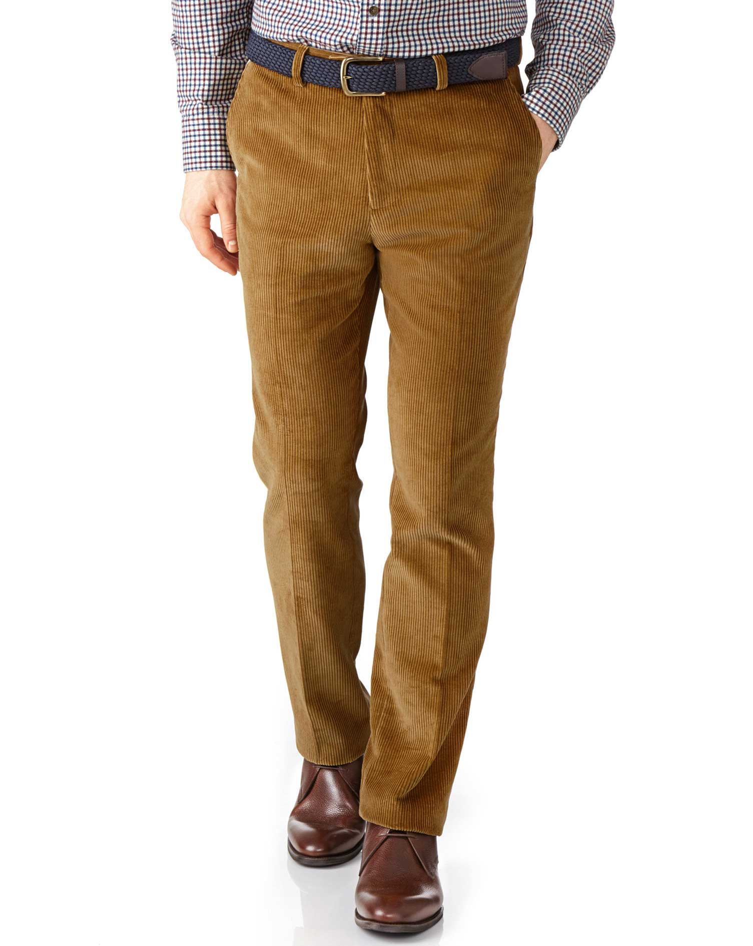 Yellow Extra Slim Fit Jumbo Cord Trouser Size W36 L30 by Charles Tyrwhitt