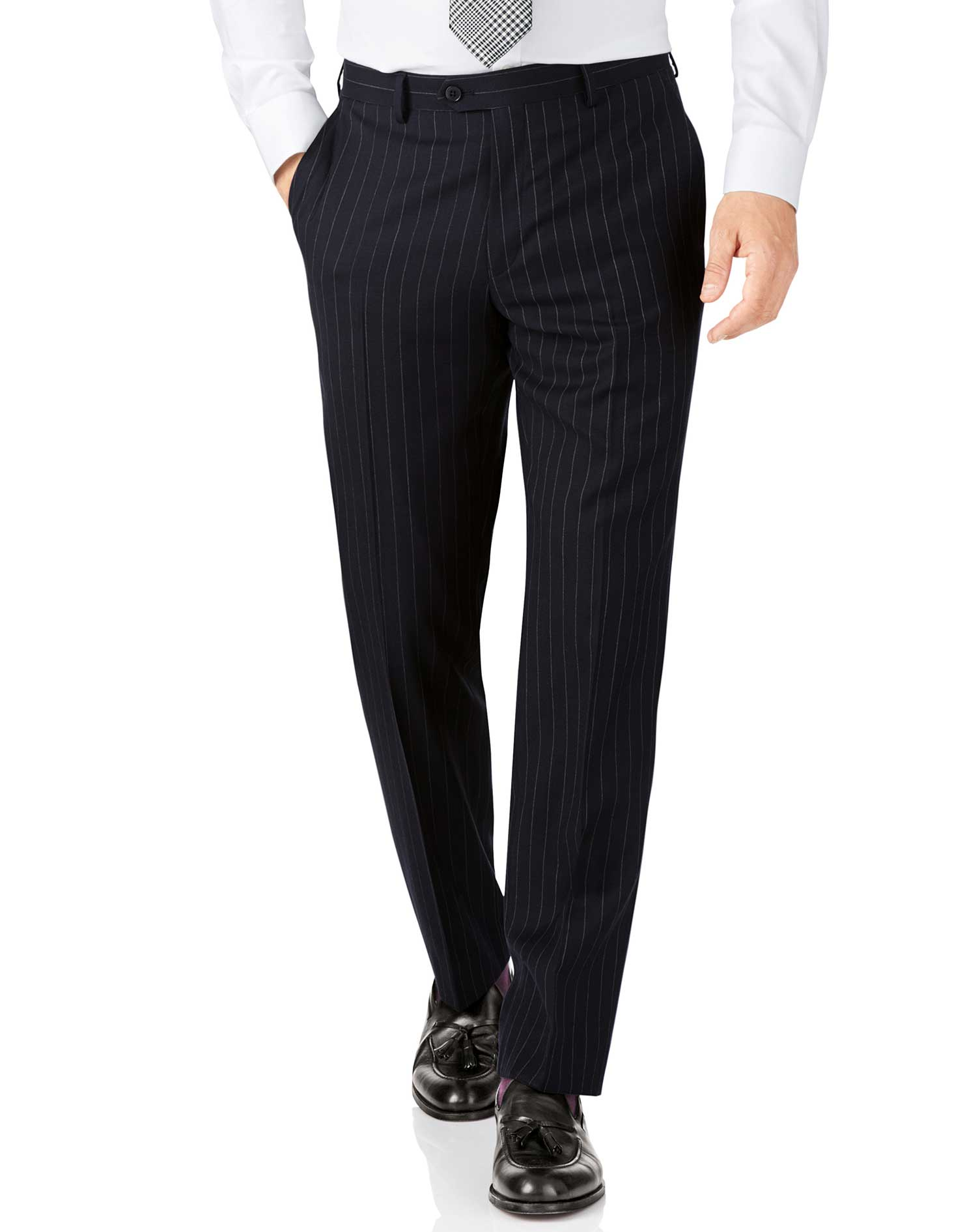 Navy Stripe Classic Fit Twill Business Suit Trousers Size W32 L38 by Charles Tyrwhitt