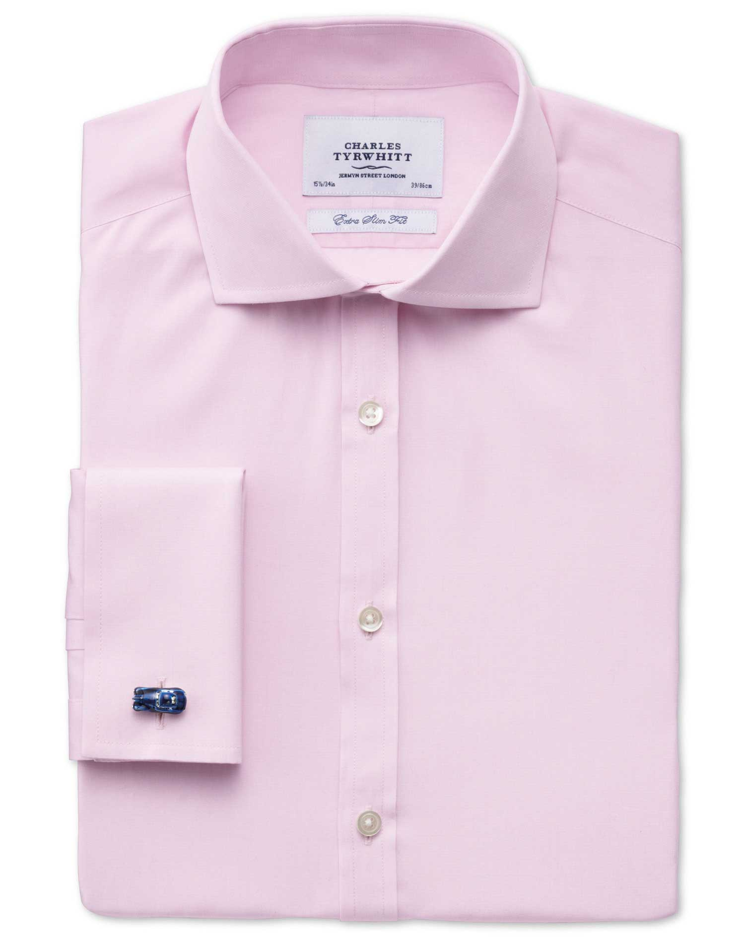 Extra Slim Fit Cutaway Collar End-On-End Pink Cotton Formal Shirt Single Cuff Size 16.5/33 by Charle