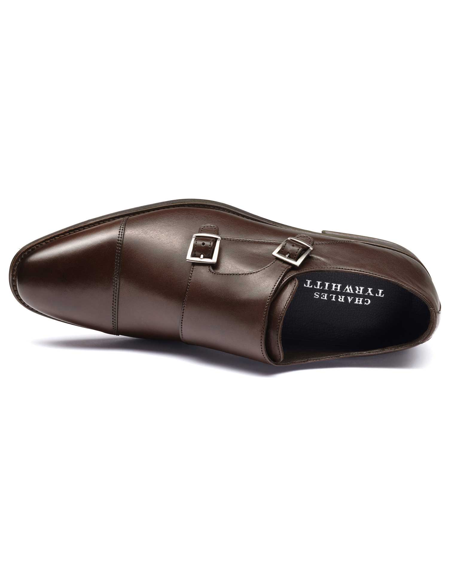 Brown Silverwell Toe Cap Monk Shoes Size 9.5 R by Charles Tyrwhitt