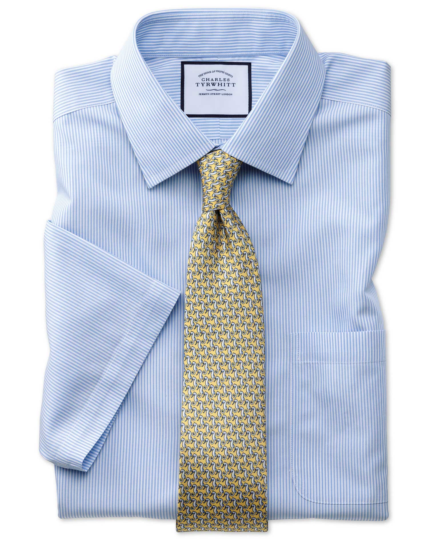 Classic Fit Non-Iron Bengal Stripe Short Sleeve Sky Cotton Formal Shirt Size 16/Short by Charles Tyr