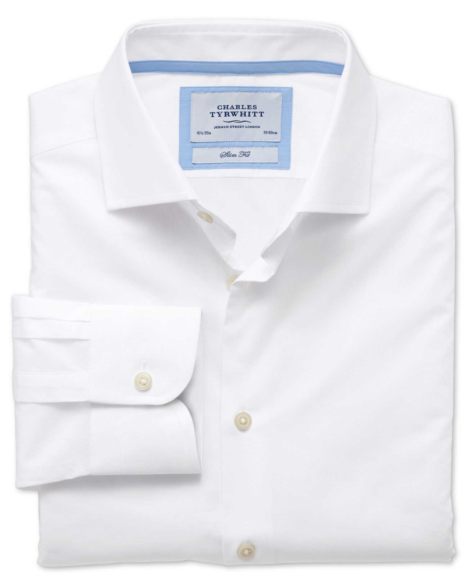 Slim Fit Semi-Cutaway Collar Business Casual White Egyptian Cotton Formal Shirt Single Cuff Size 18/