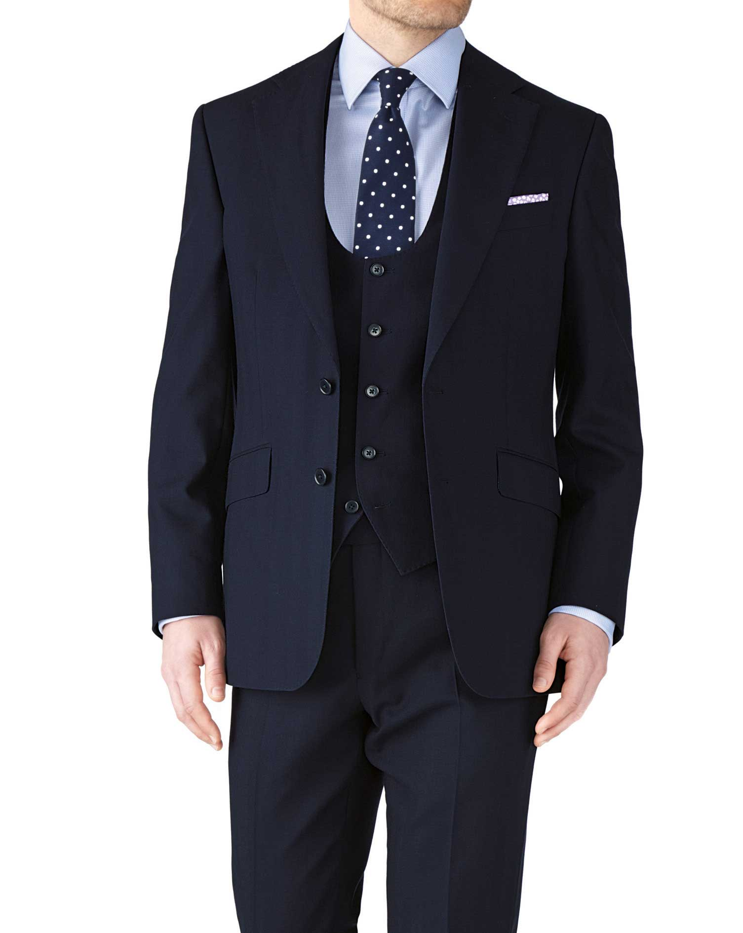 Navy Classic Fit Herringbone Business Suit Wool Jacket Size 44 Long by Charles Tyrwhitt