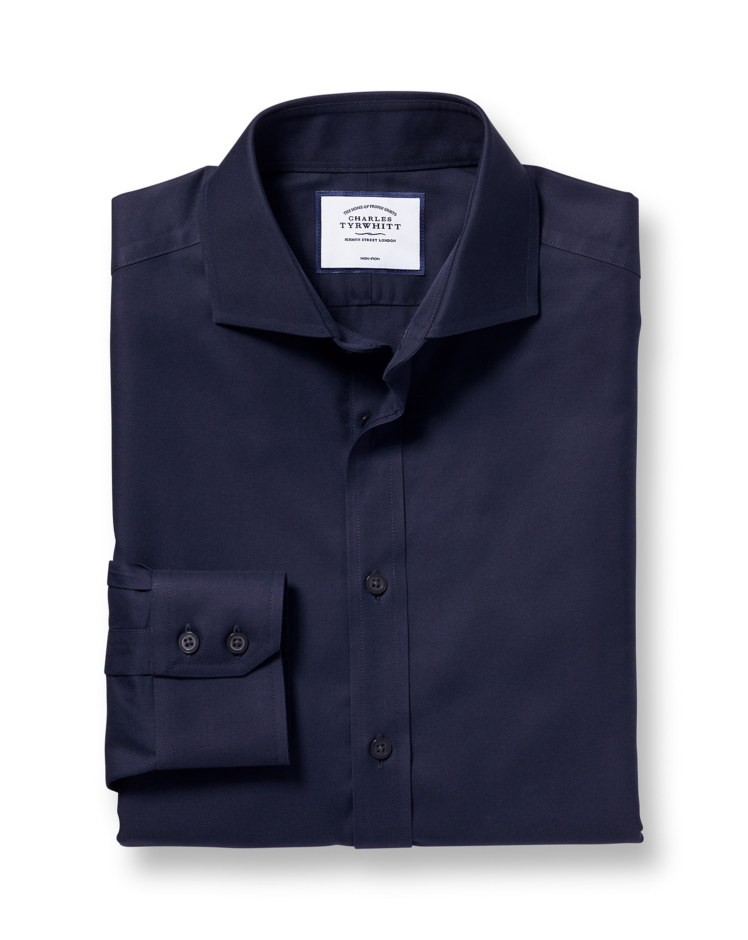 Slim Fit Cutaway Non-Iron Twill Navy Blue Cotton Formal Shirt Single Cuff Size 14.5/32 by Charles Ty