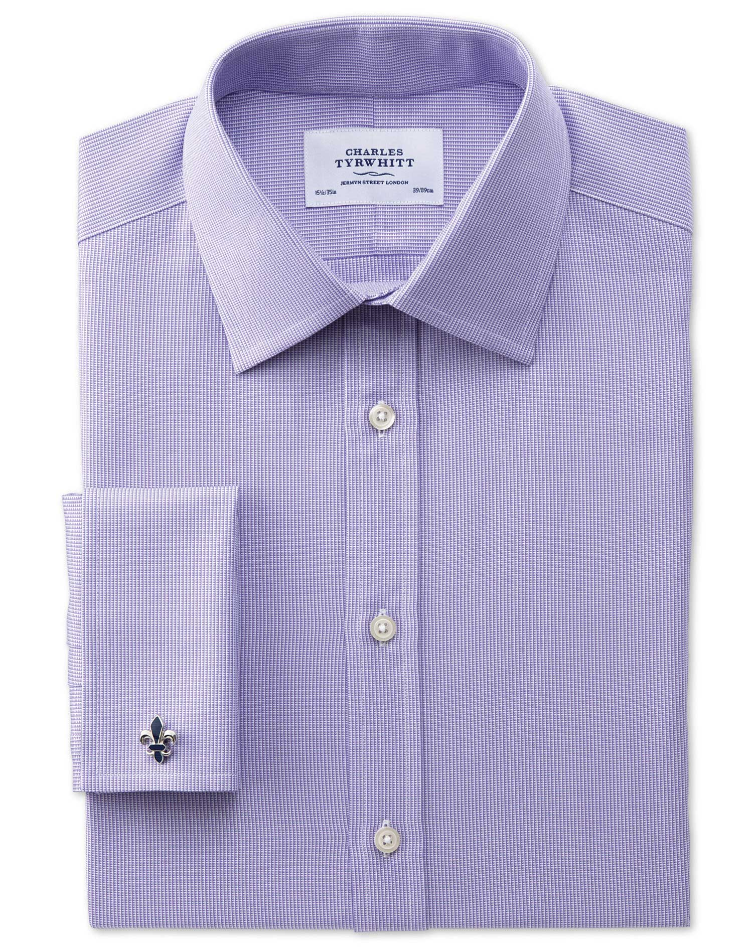 Slim Fit Oxford Lilac Cotton Formal Shirt Double Cuff Size 17/38 by Charles Tyrwhitt