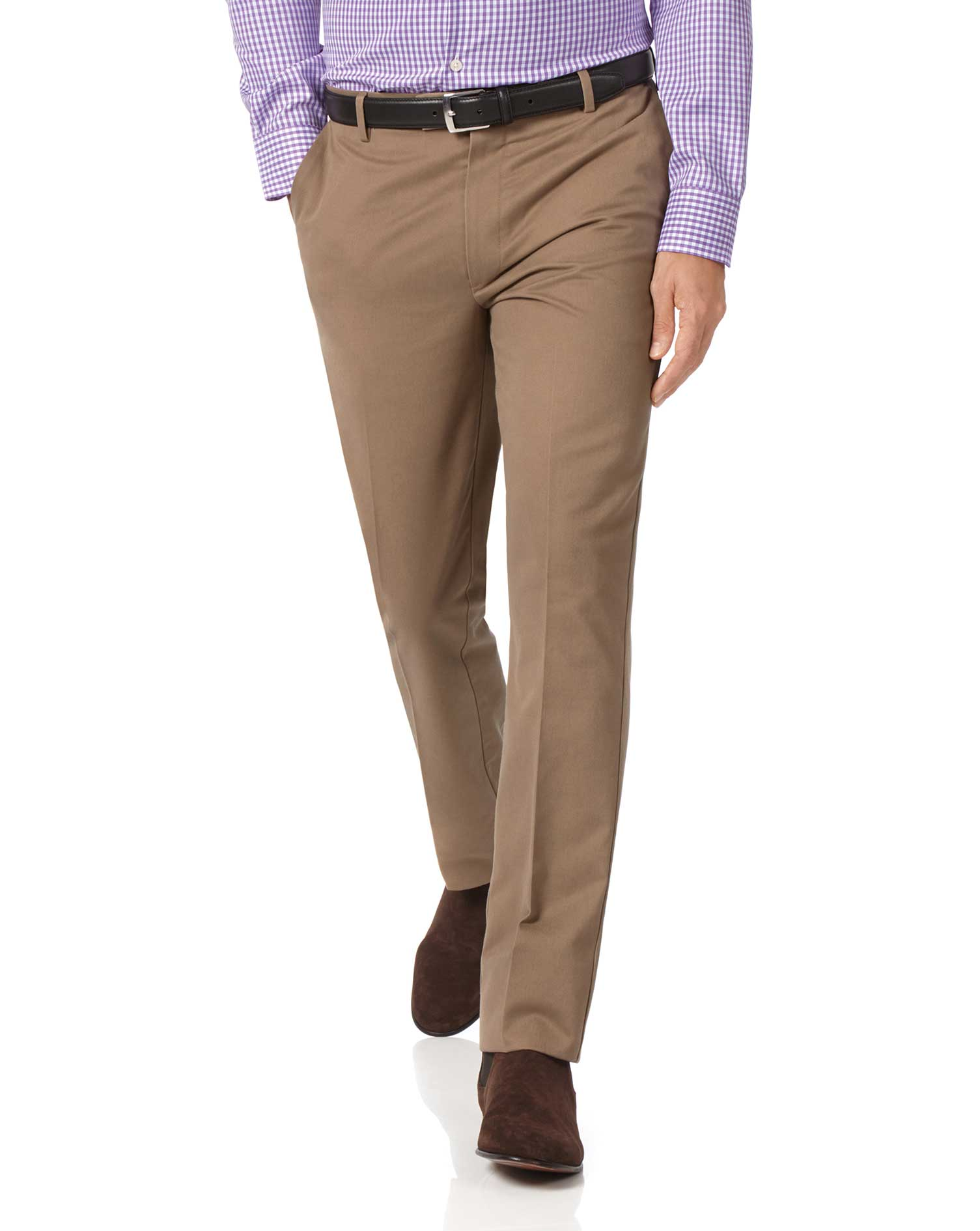Tan Extra Slim Fit Flat Front Non-Iron Cotton Chino Trousers Size W34 L29 by Charles Tyrwhitt