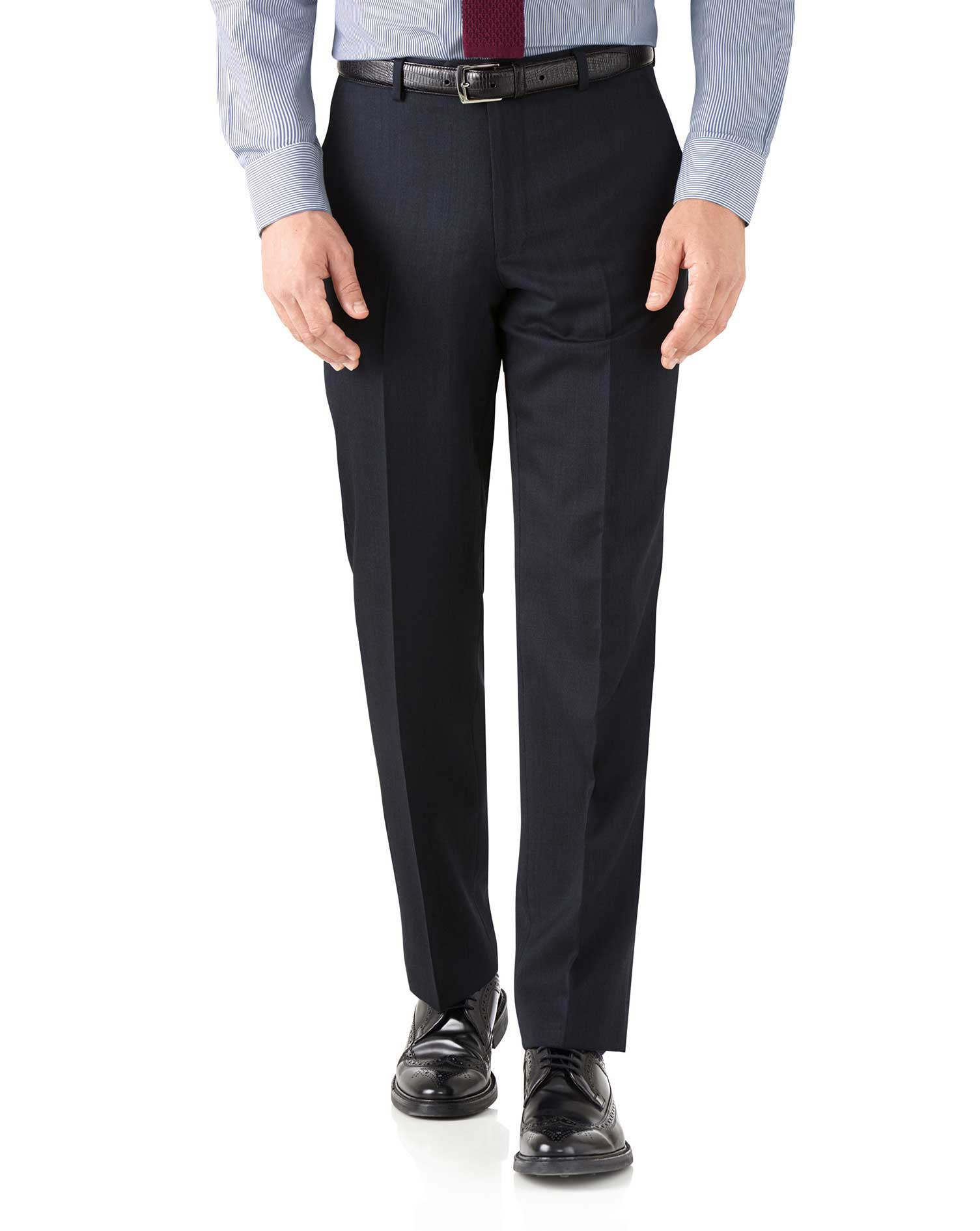 Navy Classic Fit Hairline Business Suit Trousers Size W36 L32 by Charles Tyrwhitt
