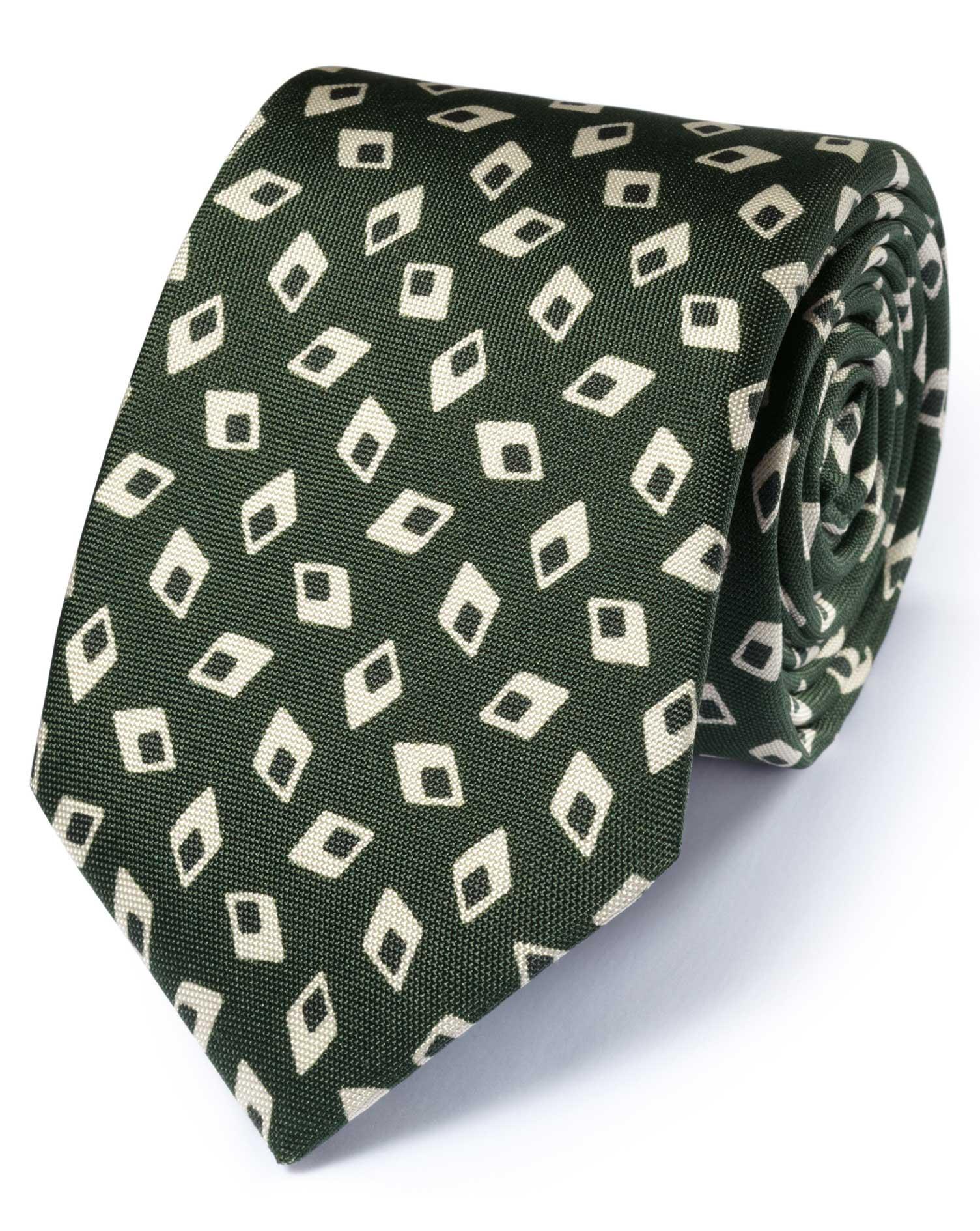 cravate de luxe vert for t en soie italienne losanges charles tyrwhitt. Black Bedroom Furniture Sets. Home Design Ideas