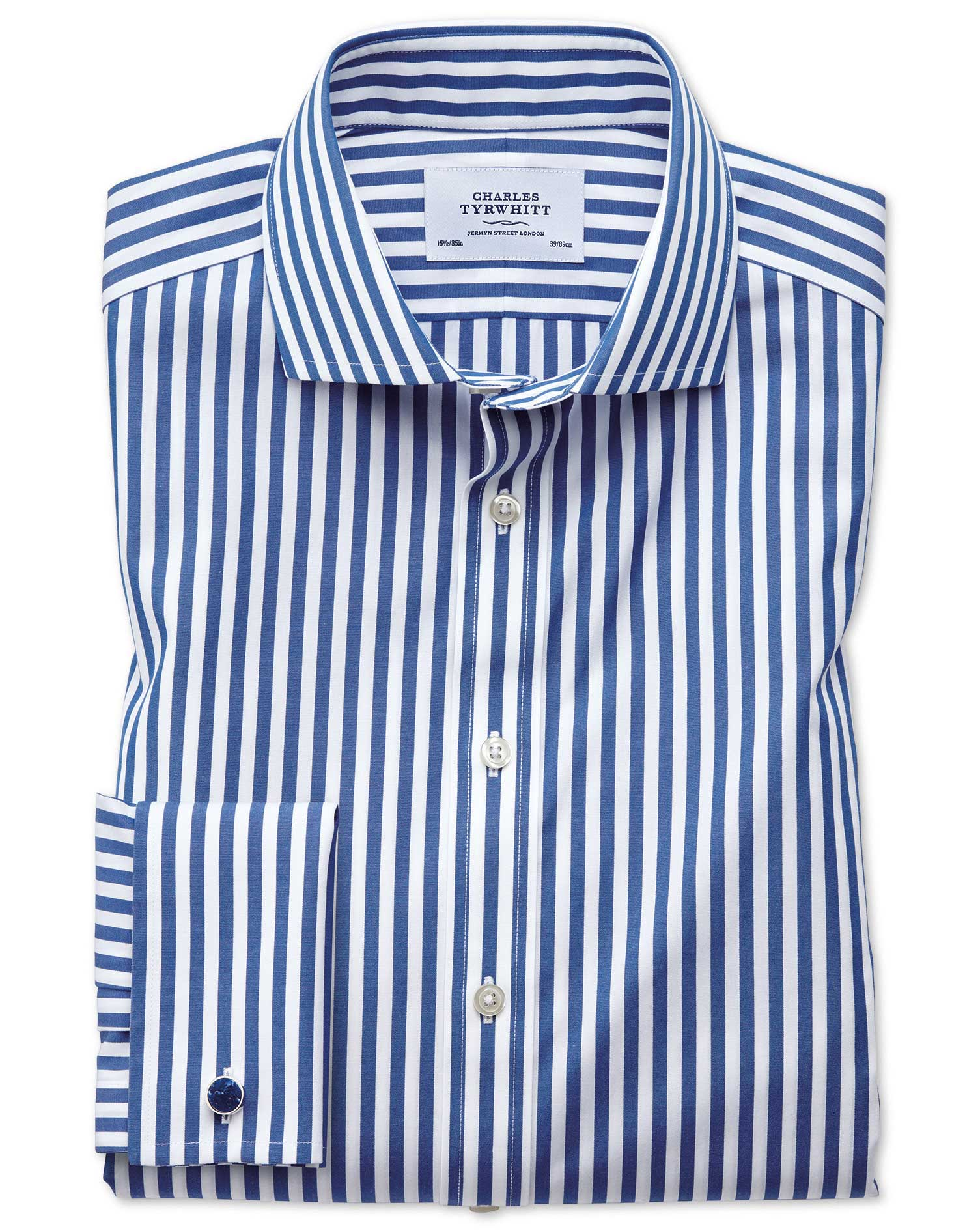 Slim Fit Cutaway Non-Iron Bengal Stripe Blue Cotton Formal Shirt Single Cuff Size 16/33 by Charles T